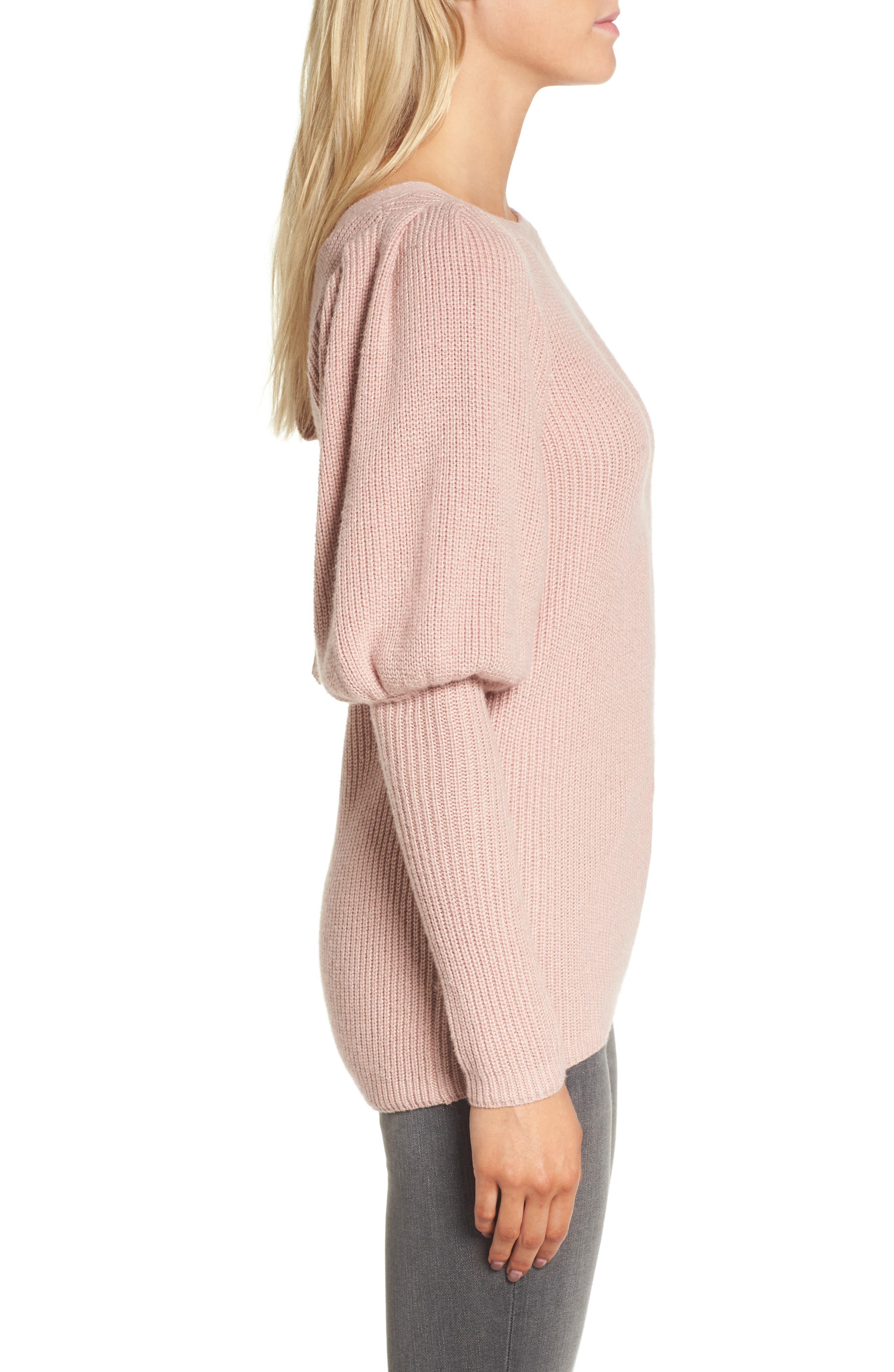 Puff Sleeve Sweatser,                             Alternate thumbnail 3, color,                             Pink Adobe