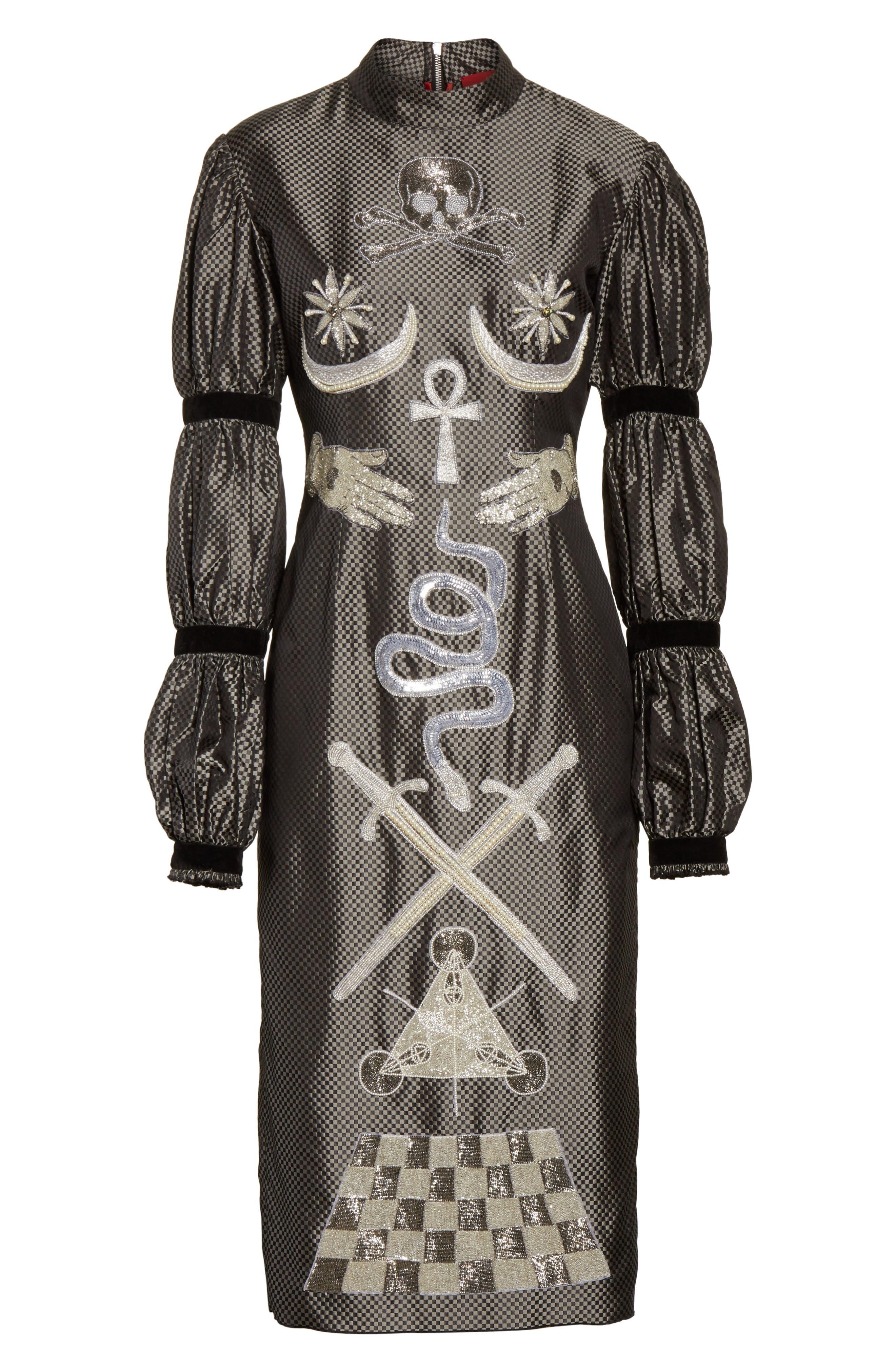 Alien Goddess Embellished Silk Dress,                             Alternate thumbnail 7, color,                             Silver