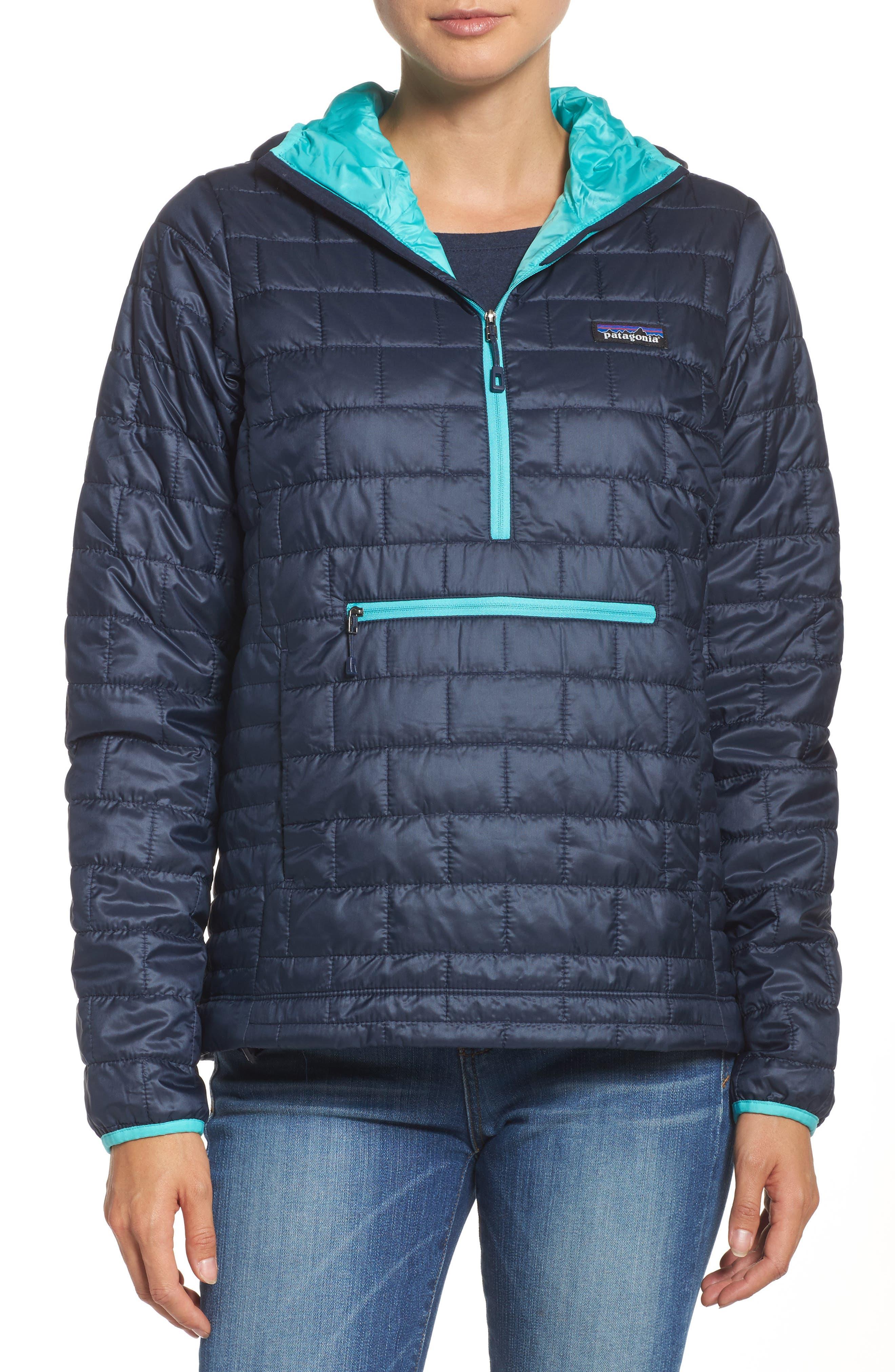 Nano Puff<sup>®</sup> Bivy Water Resistant Jacket,                         Main,                         color, Navy Blue W/ Strait Blue