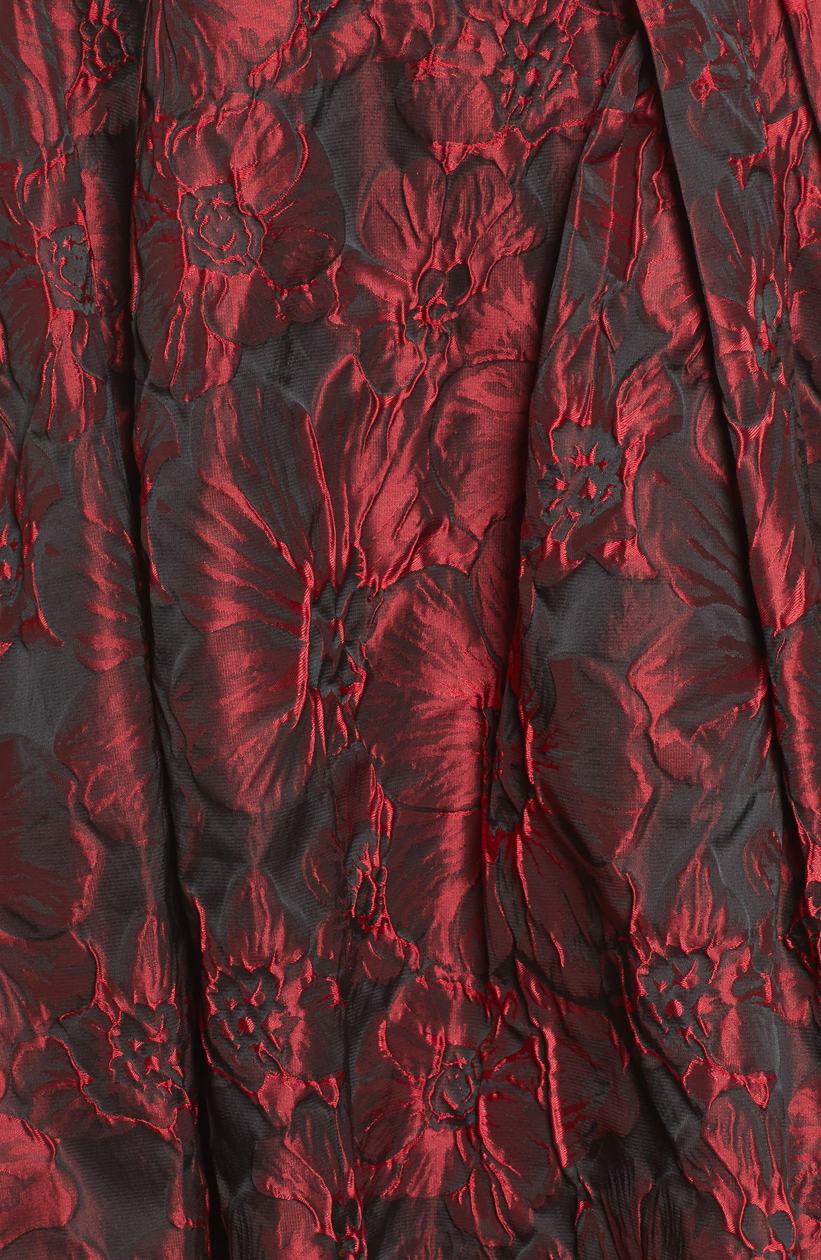 Jacquard High/Low Dress,                             Alternate thumbnail 5, color,                             Red & Black