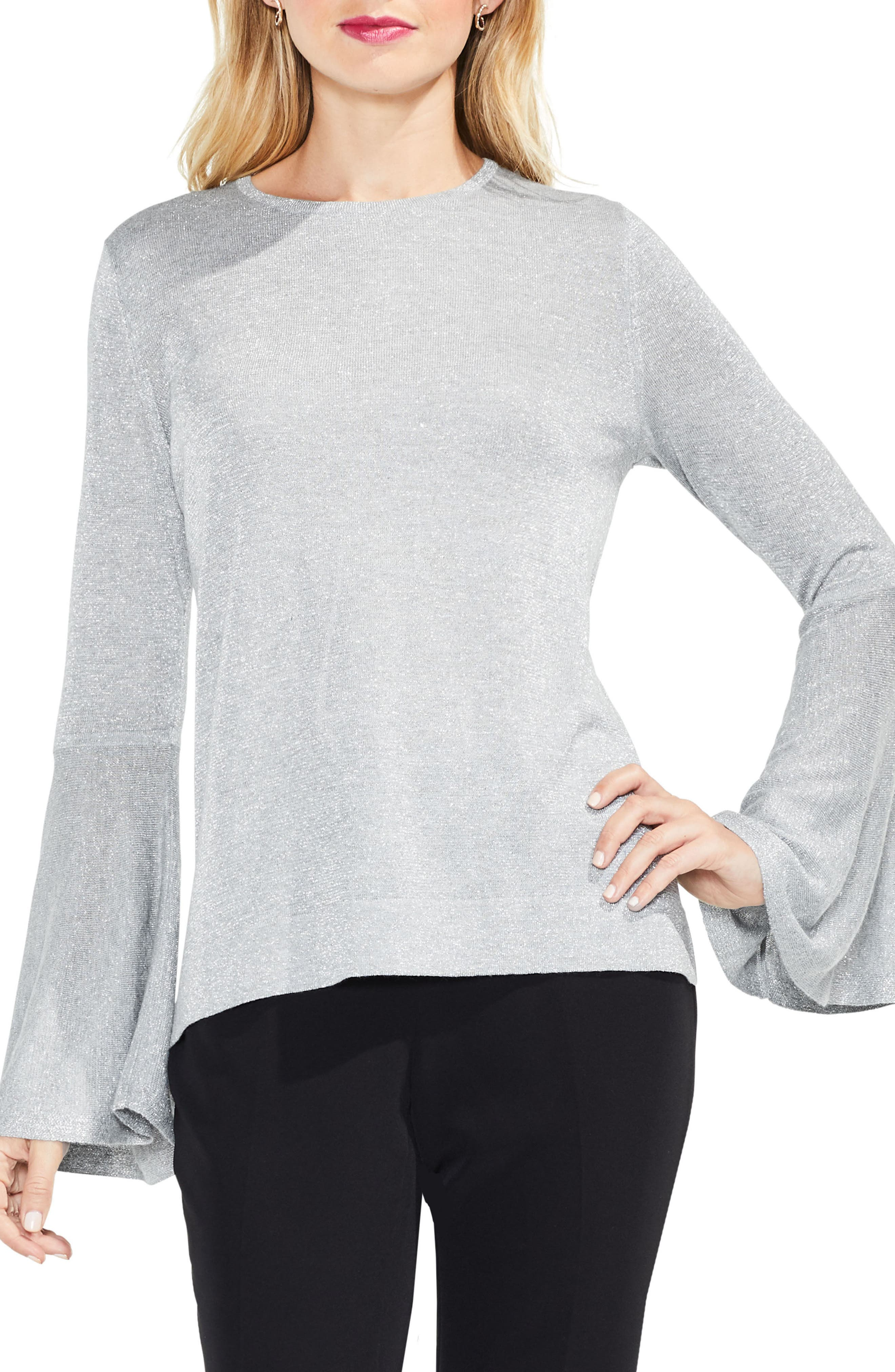 Bell Sleeve Sweater,                         Main,                         color, Light Heather Grey