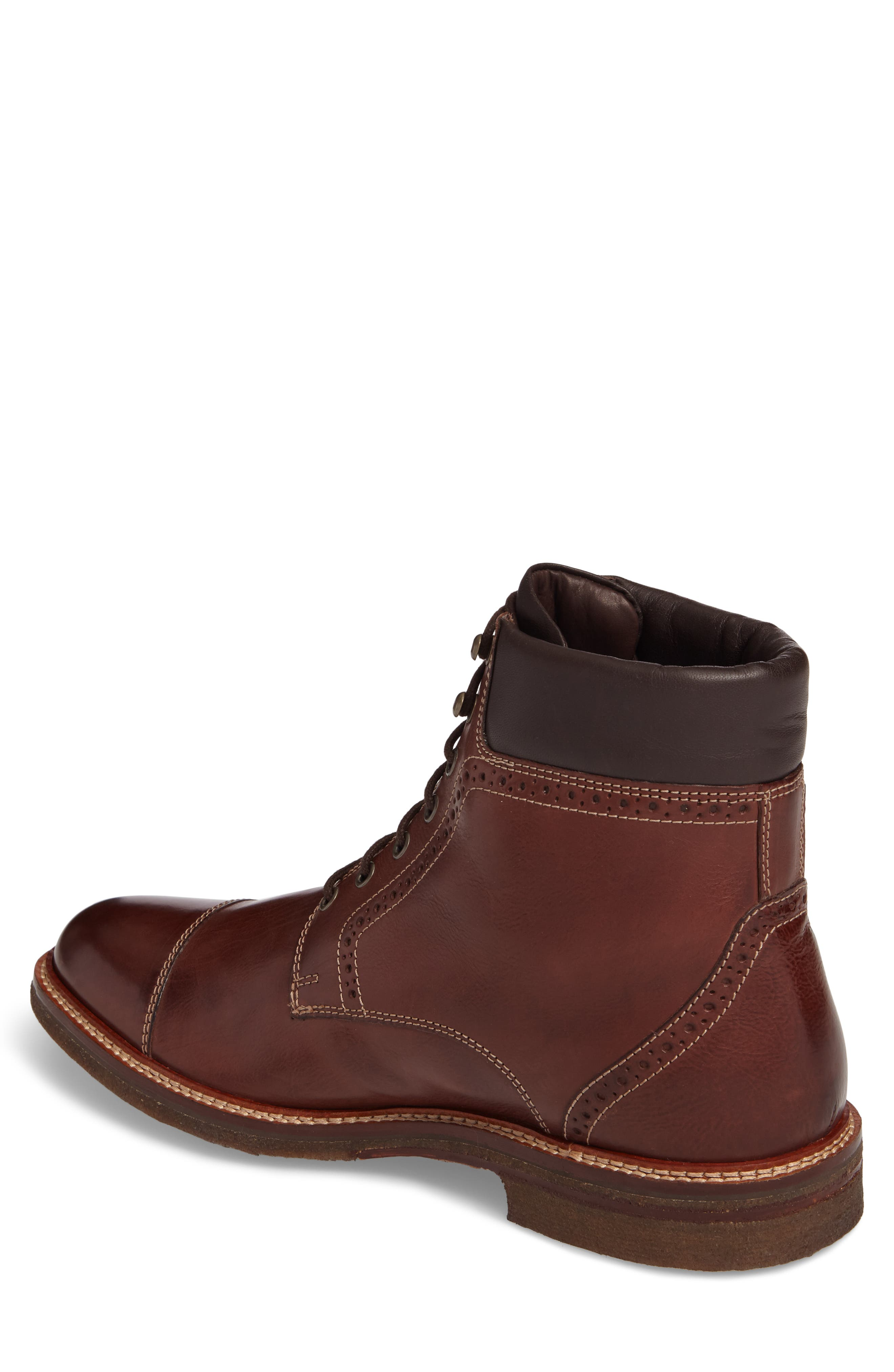Forrester Cap Toe Boot,                             Alternate thumbnail 2, color,                             Mahogany Leather