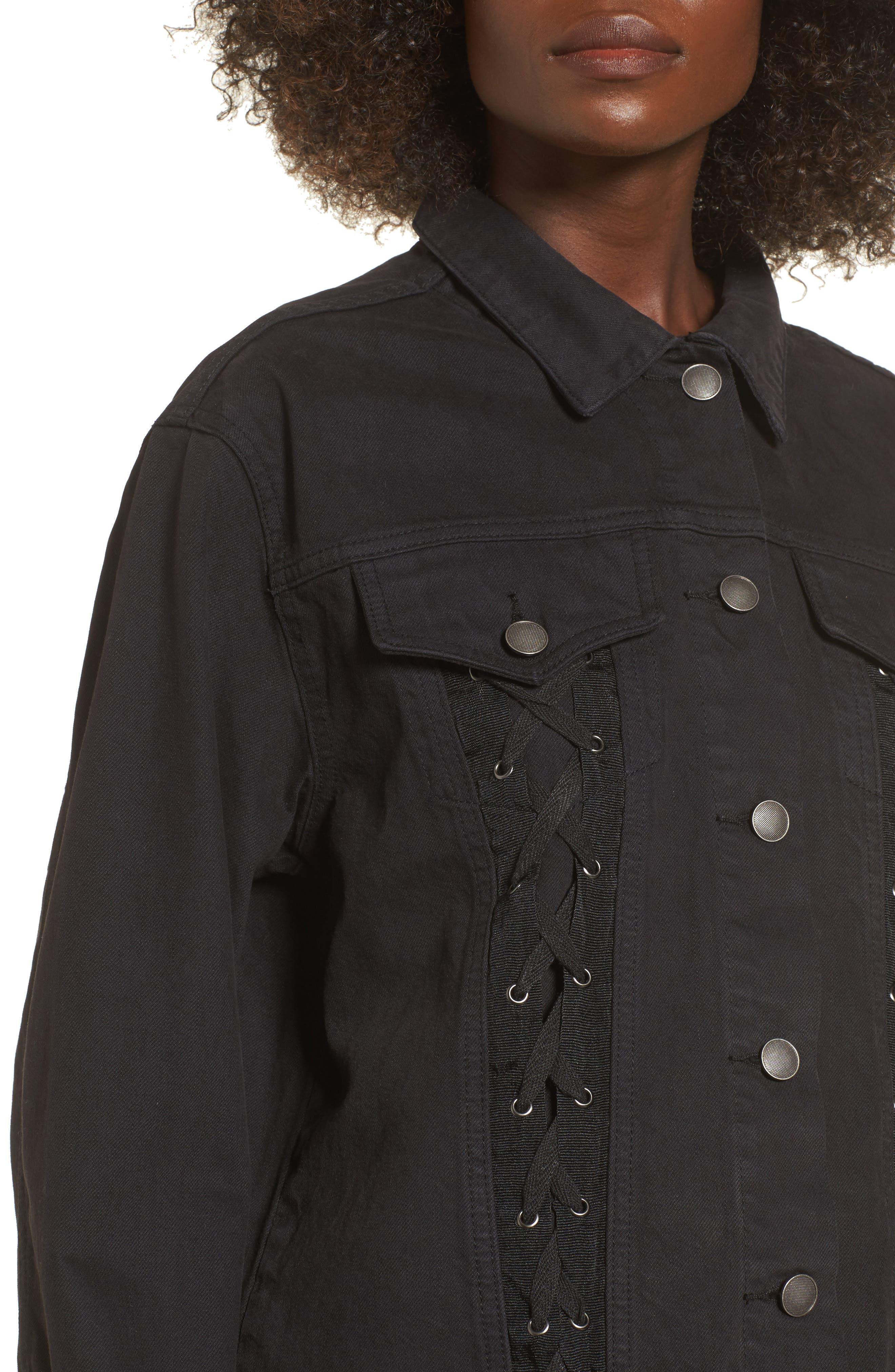 Lace-Up Denim Jacket,                             Alternate thumbnail 4, color,                             Black