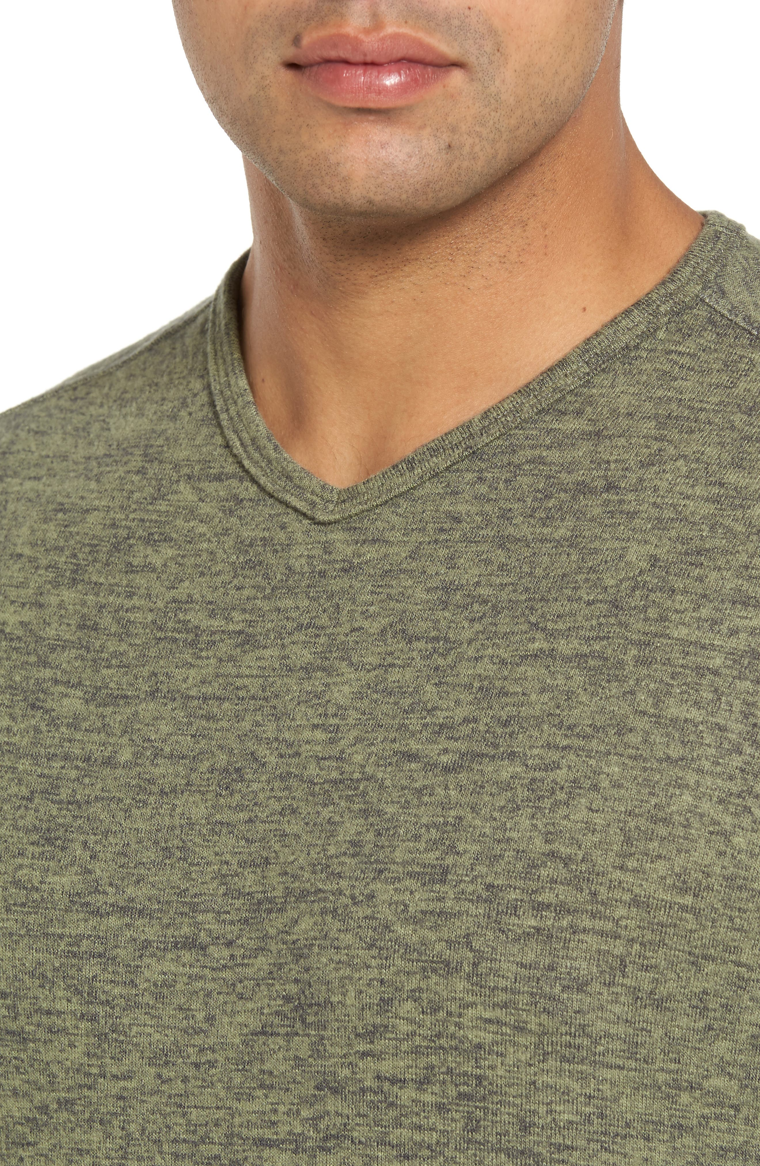 'Leeward' V-Neck Long Sleeve T-Shirt,                             Alternate thumbnail 4, color,                             Duty Tyme Heather