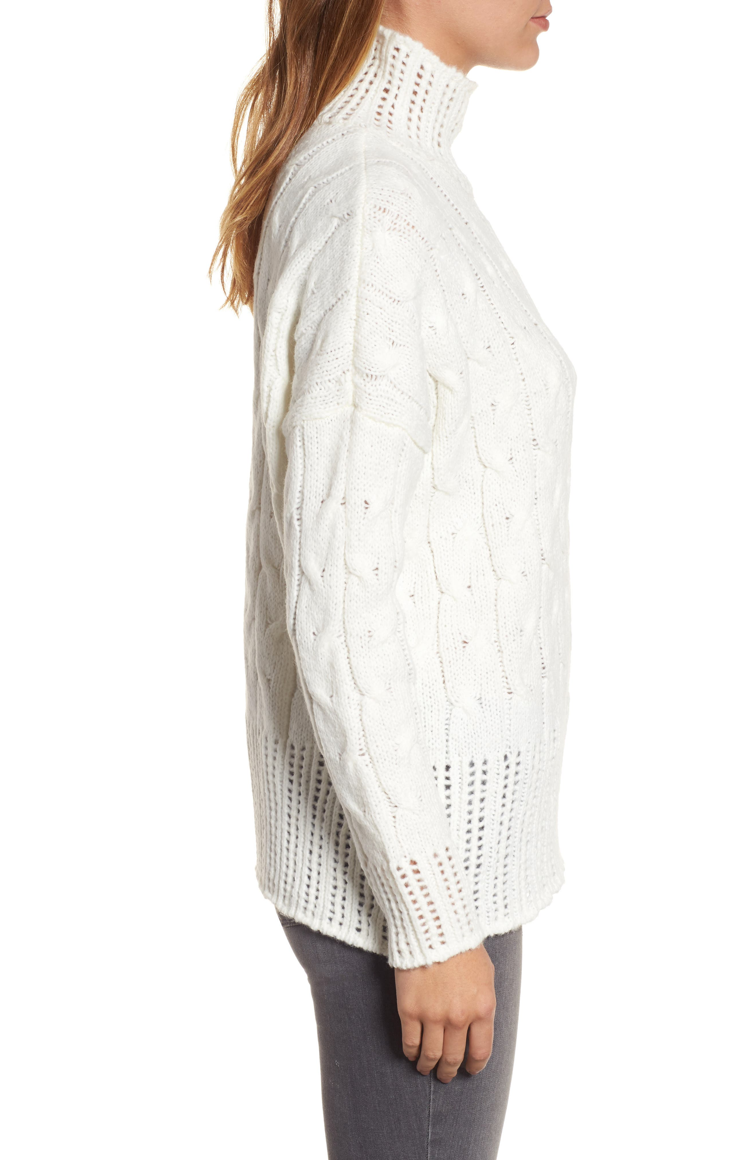 Alternate Image 3  - Press Pointelle Turtleneck Sweater