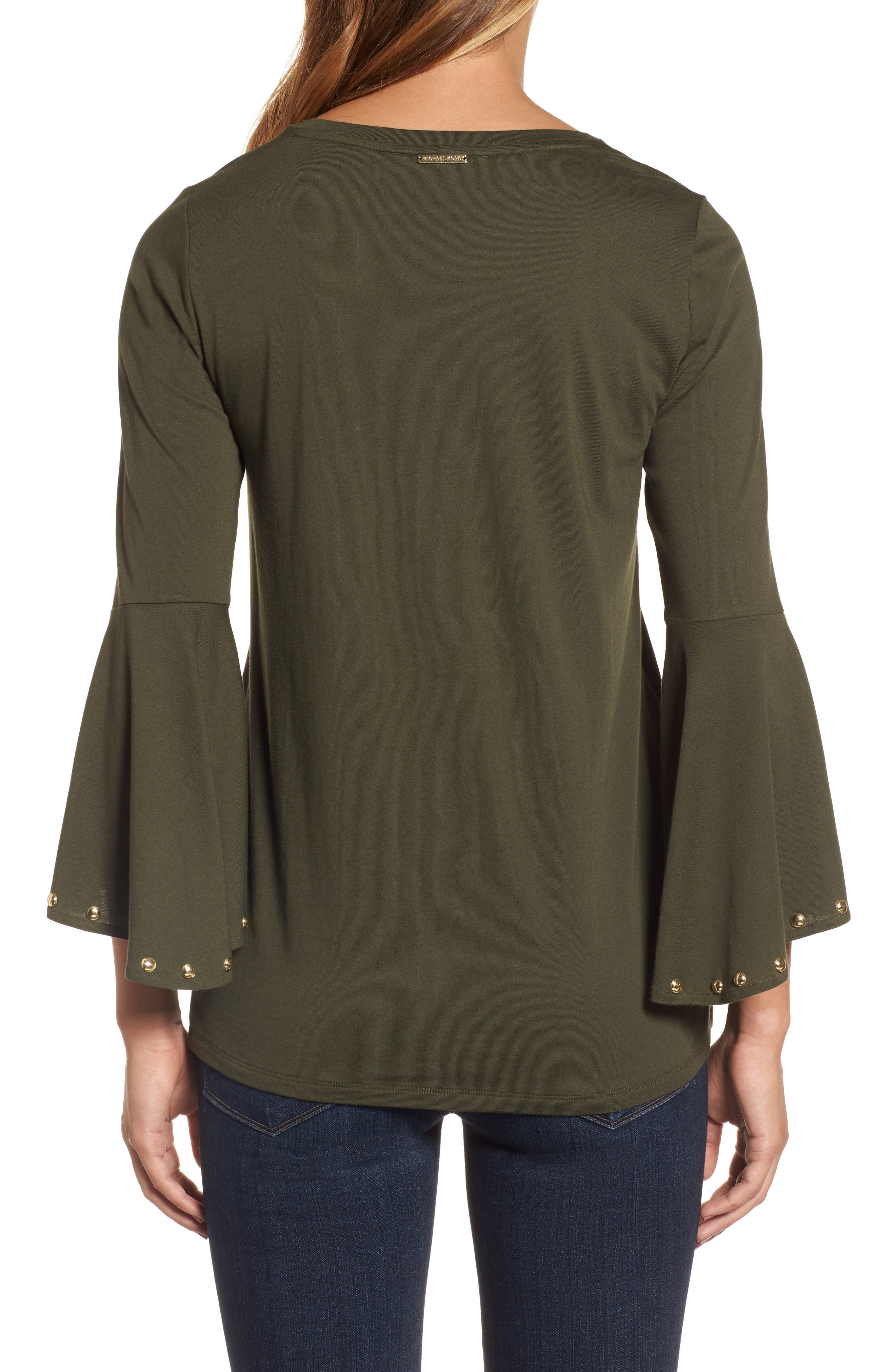 High/Low Bell Sleeve Top,                             Alternate thumbnail 2, color,                             Ivy