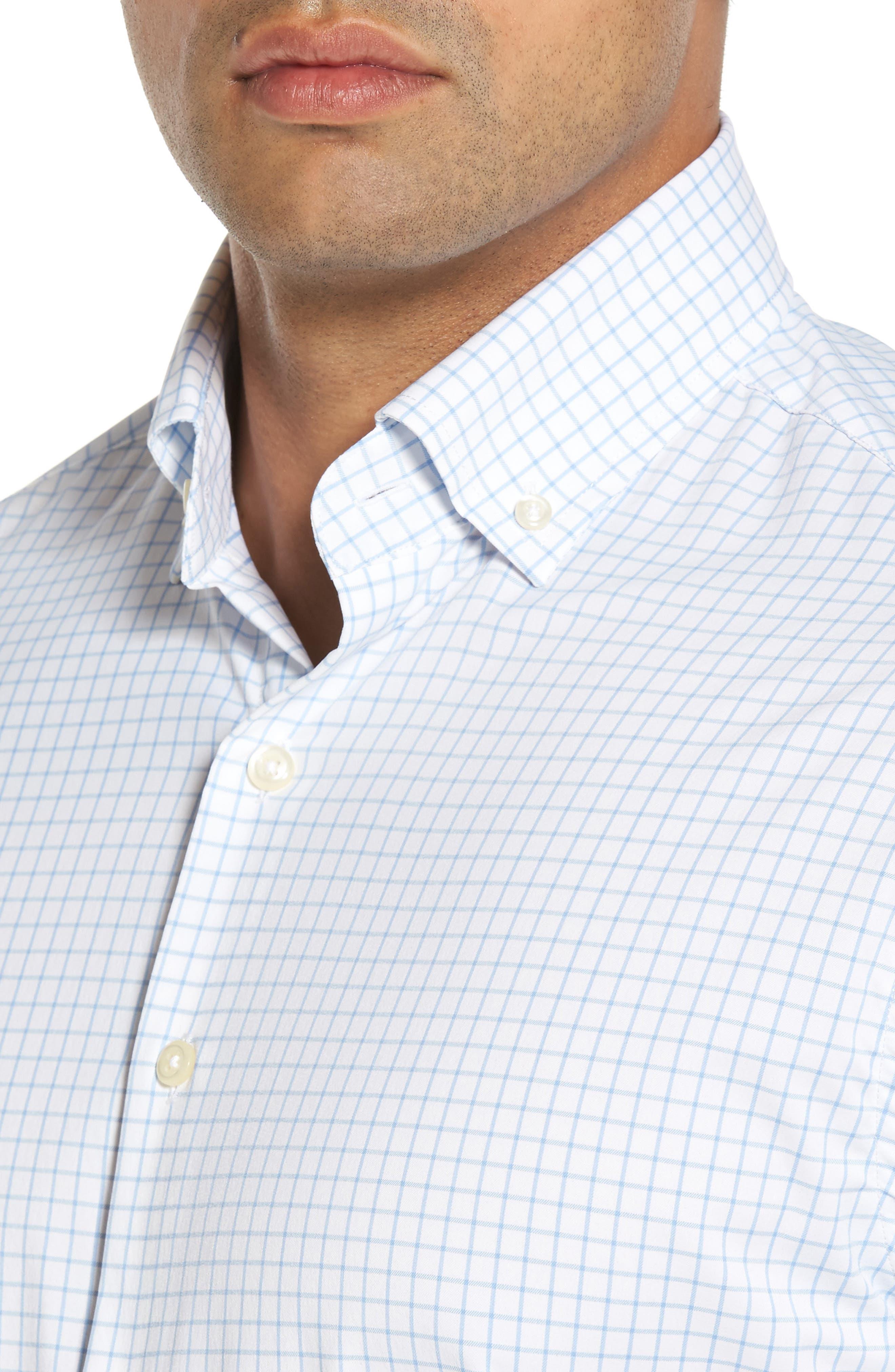 Captain Check Performance Sport Shirt,                             Alternate thumbnail 4, color,                             Cottage Blue