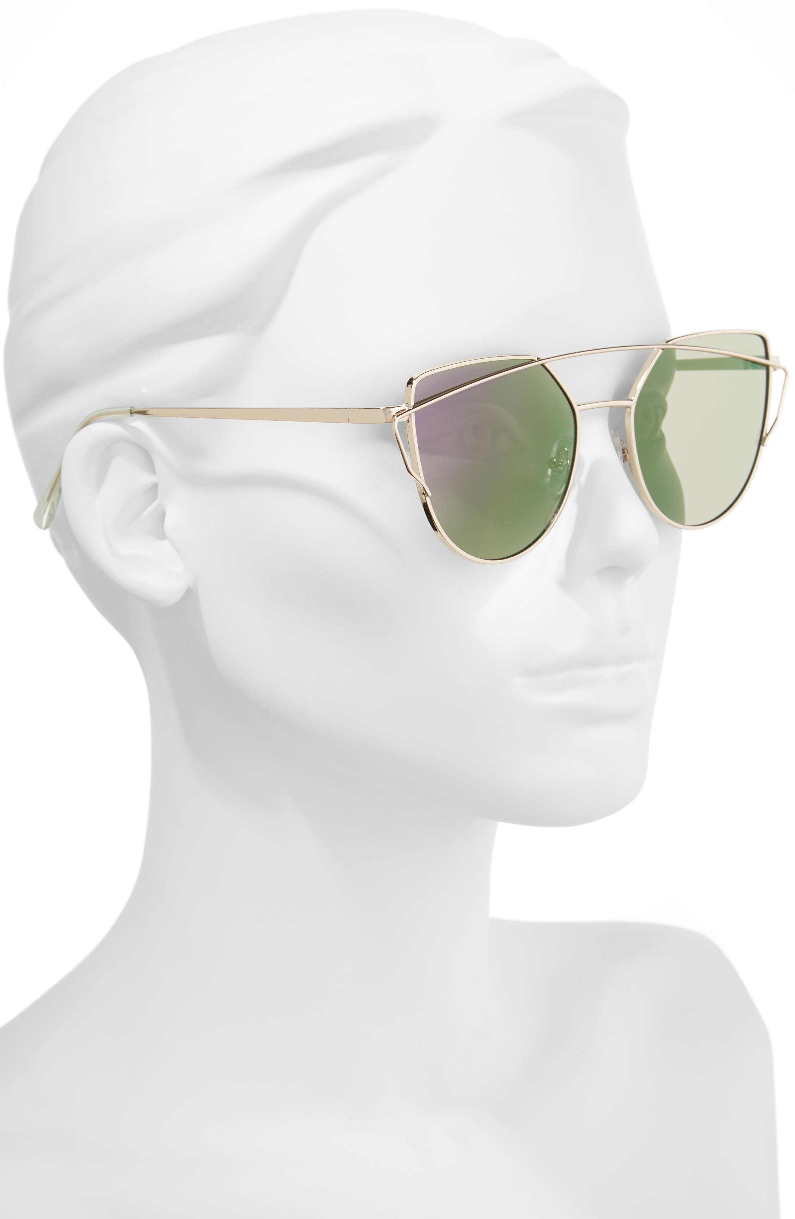 52mm Thin Brow Angular Aviator Sunglasses,                             Alternate thumbnail 2, color,                             Gold/ Purple