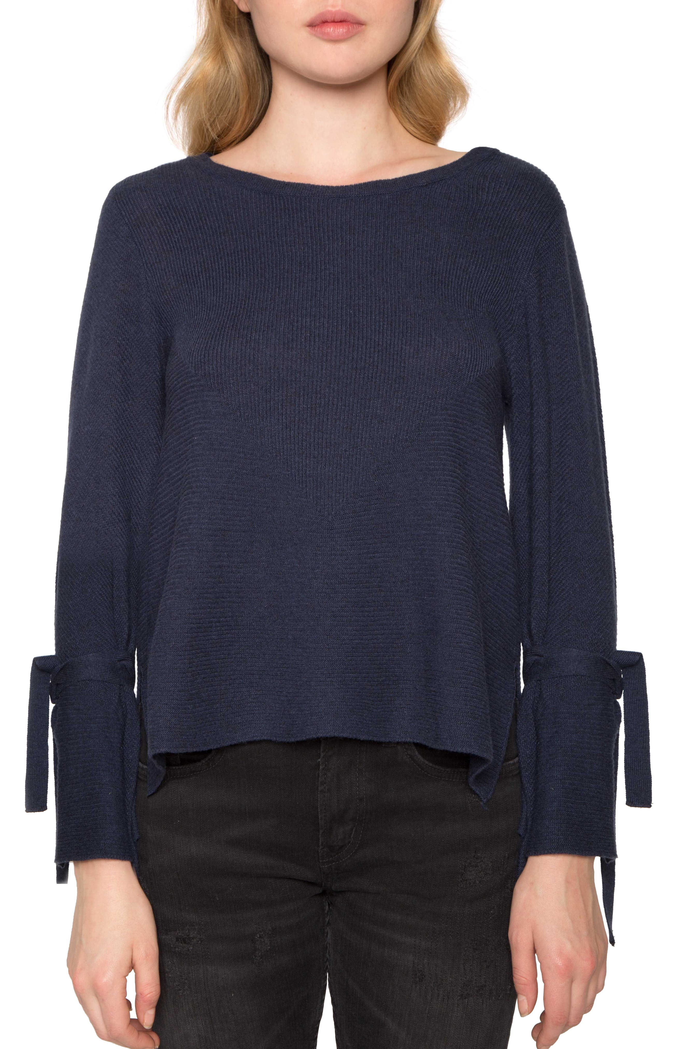 Tie Sleeve Sweater,                         Main,                         color, Navy