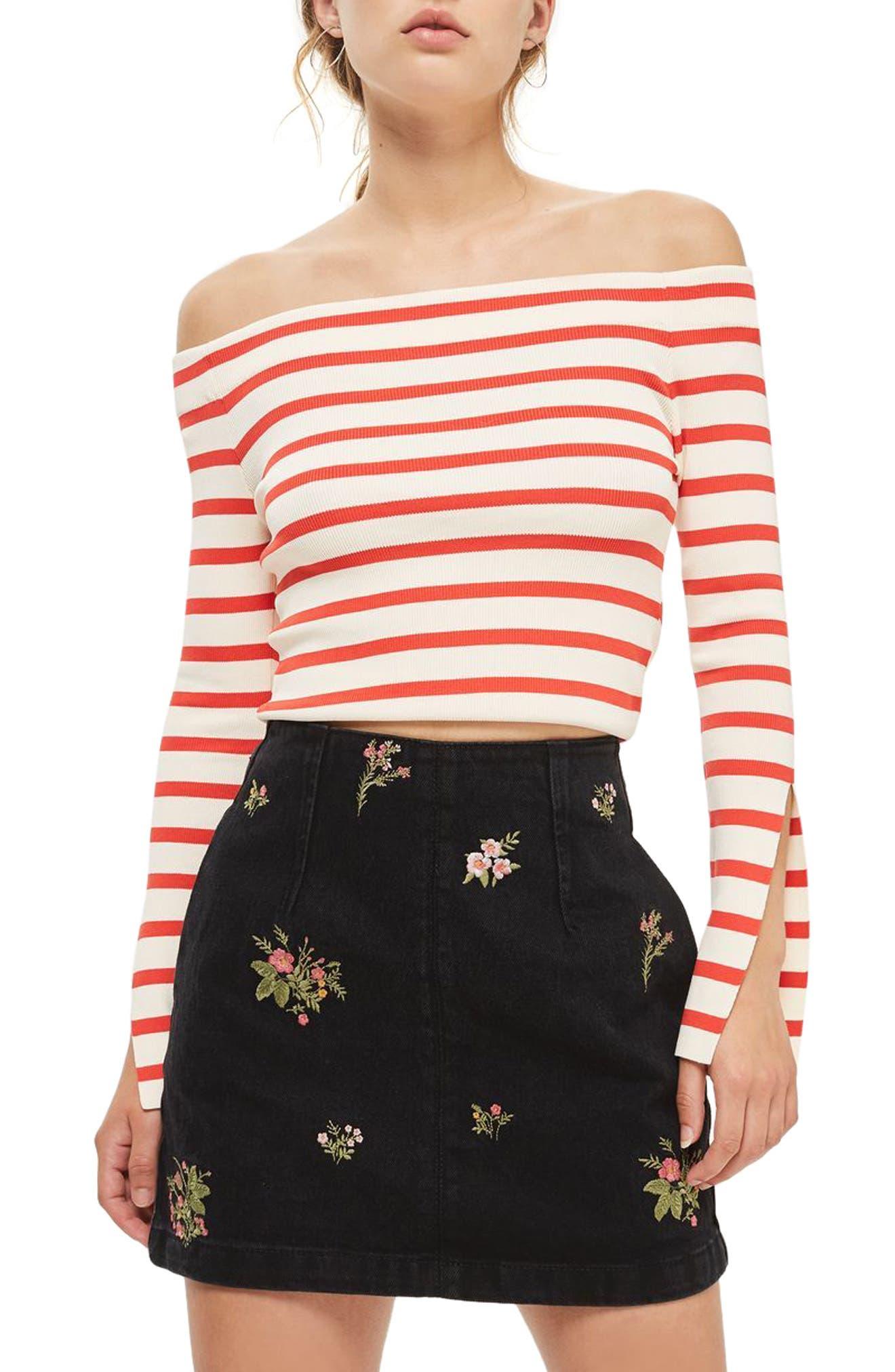 Romantic Floral Denim Miniskirt,                             Main thumbnail 1, color,                             Washed Black