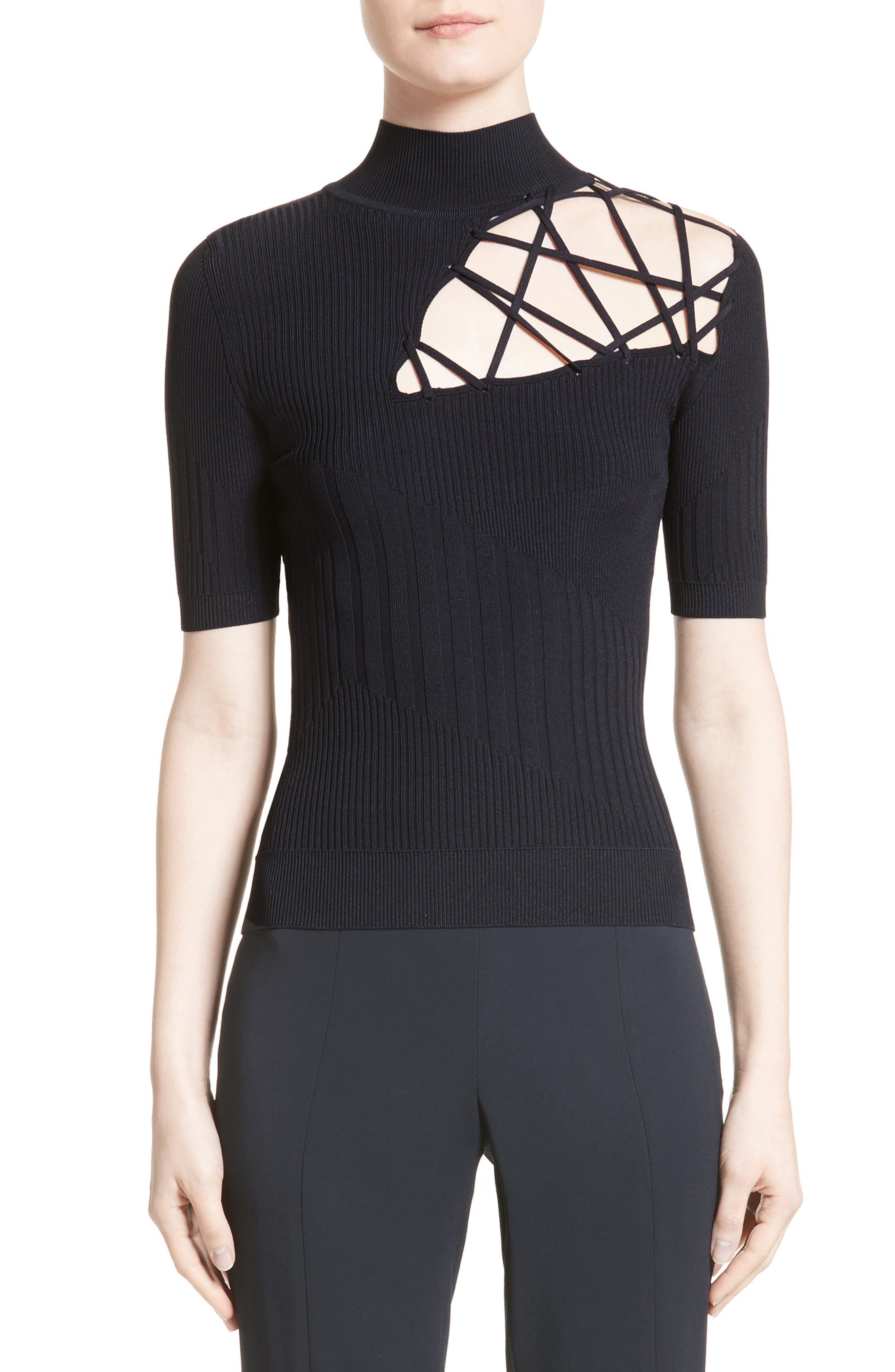 Strappy Cutout Mock Neck Top,                         Main,                         color, Midnight