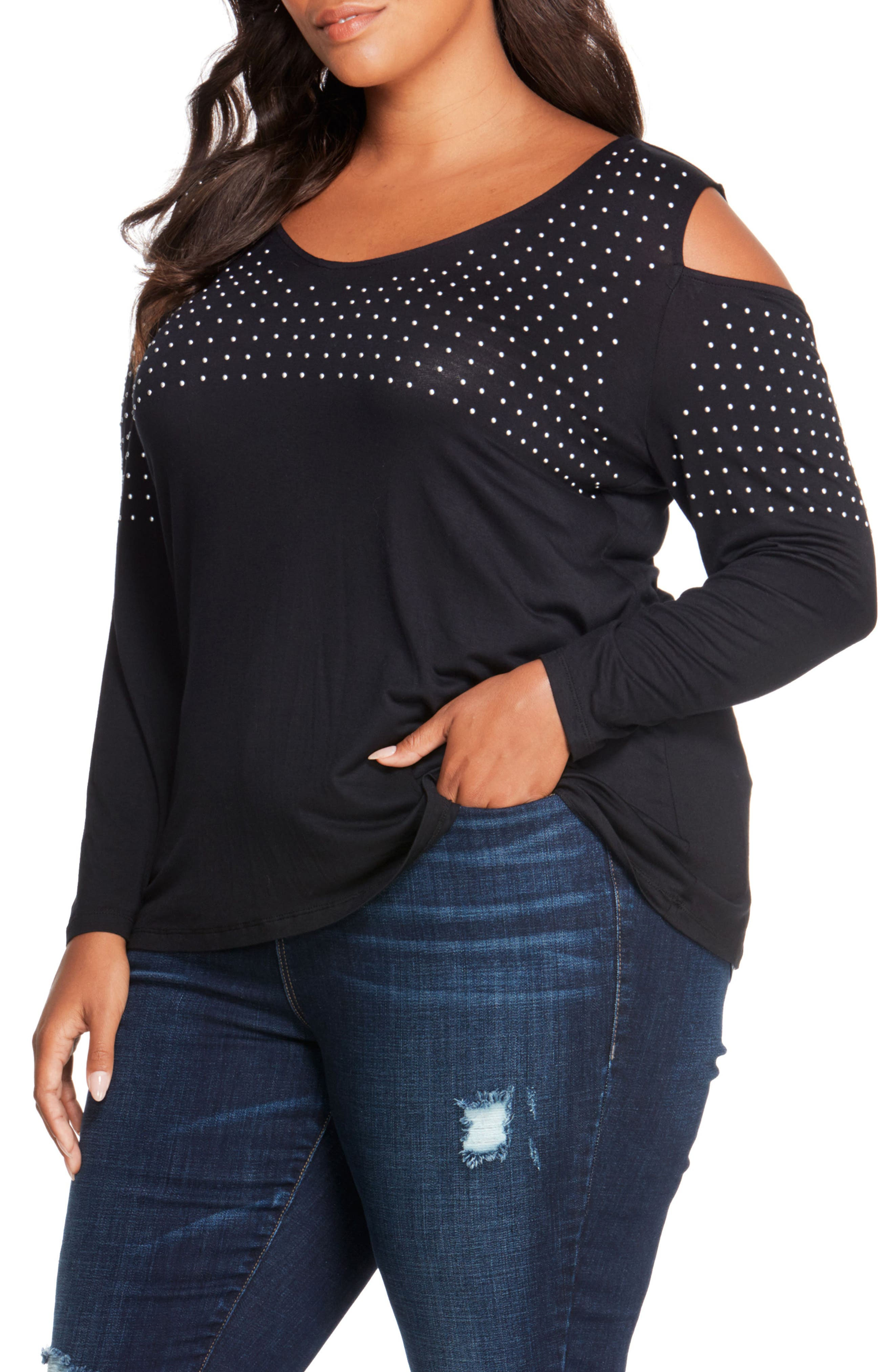 REBEL WILSON X ANGELS Studded Cold Shoulder Top (Plus Size)