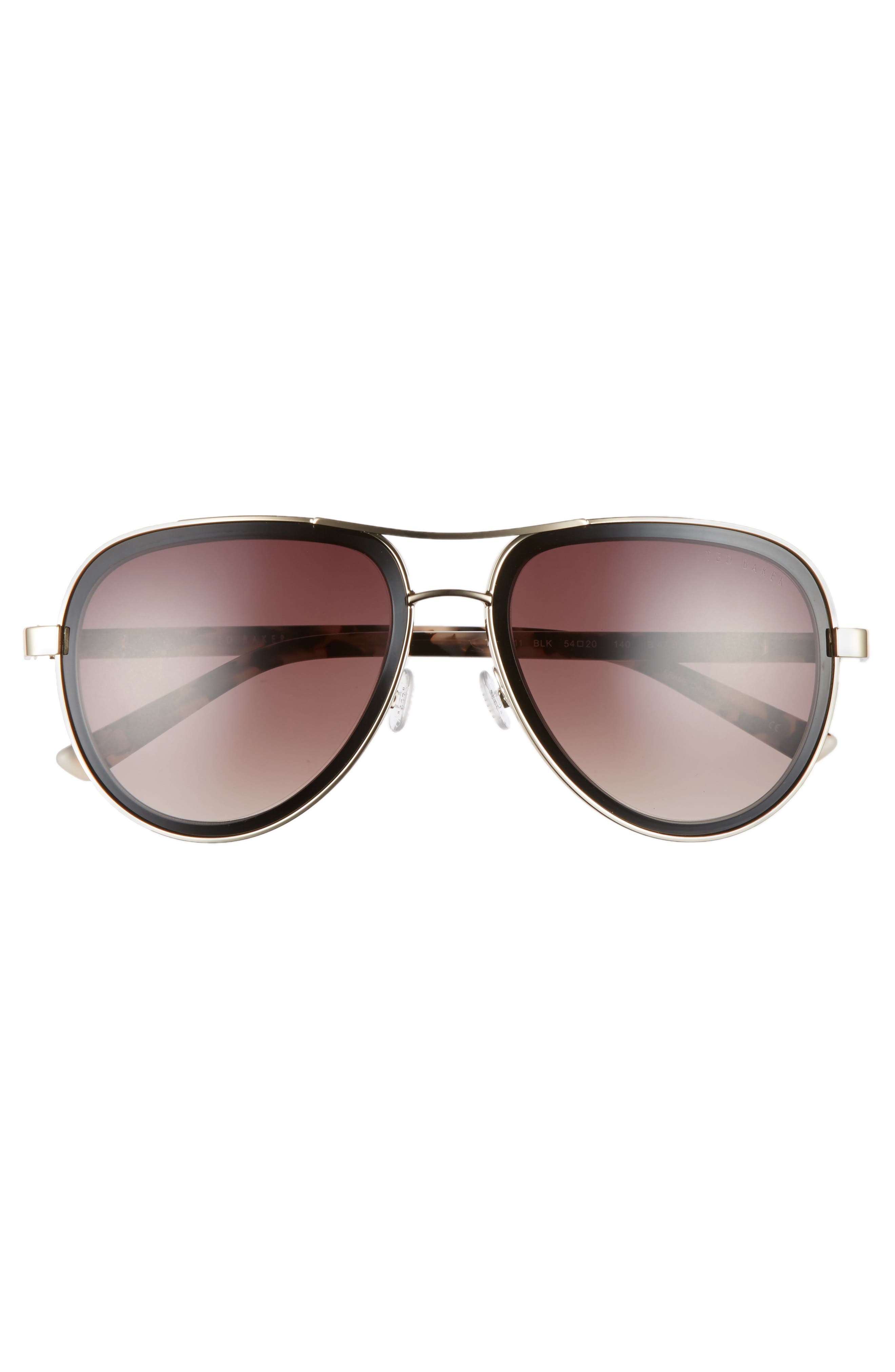 54mm Aviator Sunglasses,                             Alternate thumbnail 3, color,                             Black