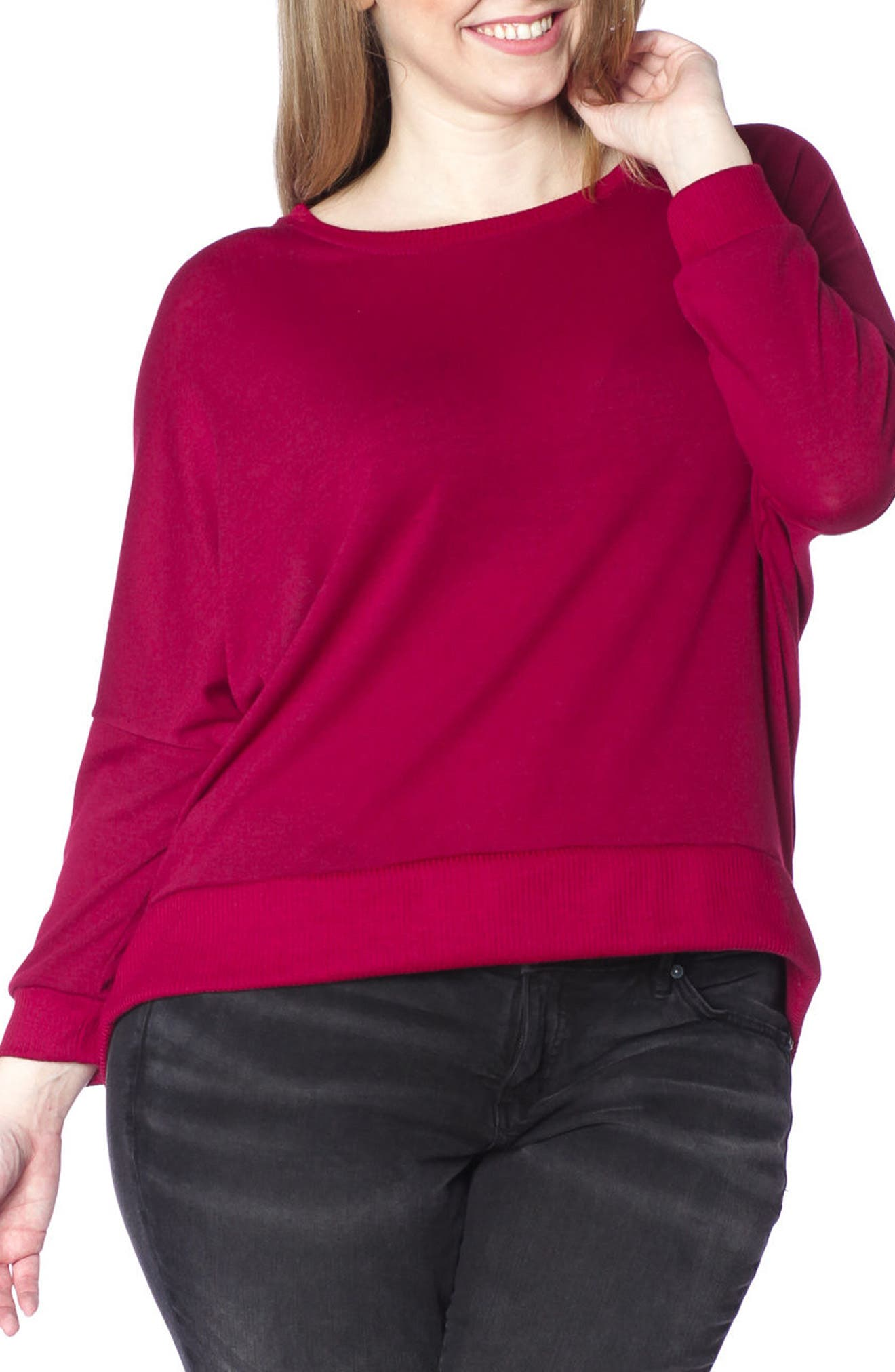 Dolman Sleeve Ribbed Pullover,                         Main,                         color, Bordeaux