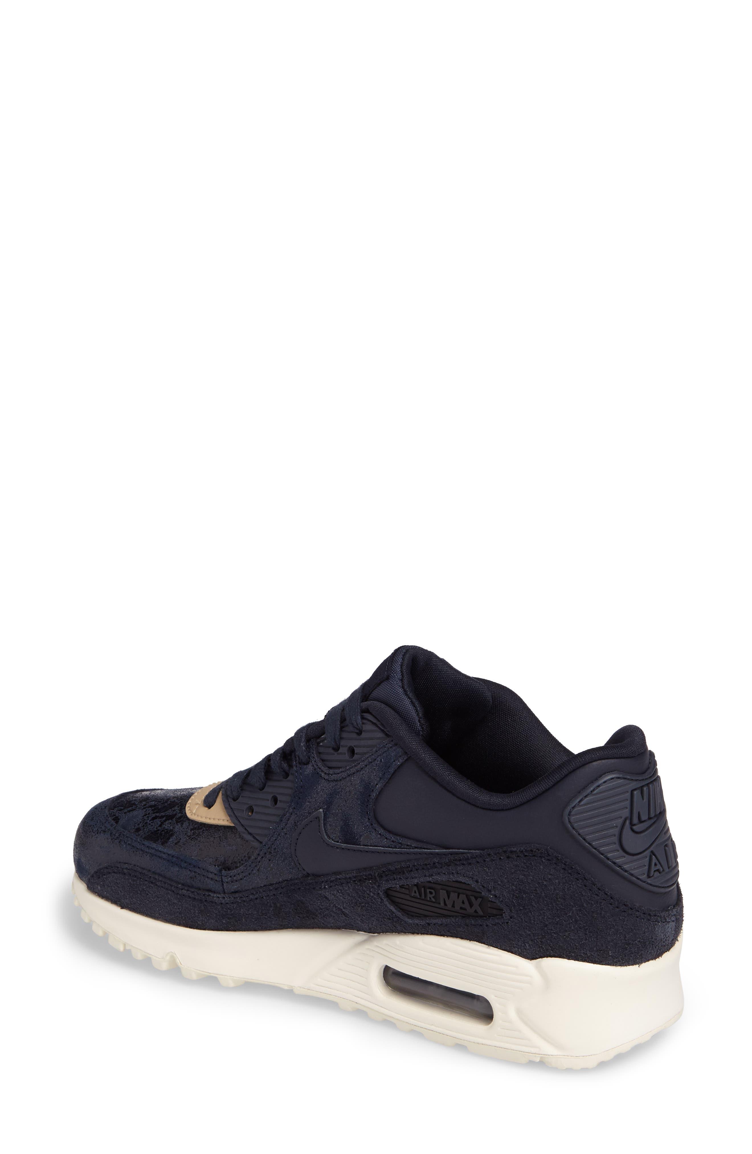 Air Max 90 Premium Sneaker,                             Alternate thumbnail 2, color,                             Dark Obsidian/ Sail/ Mushroom
