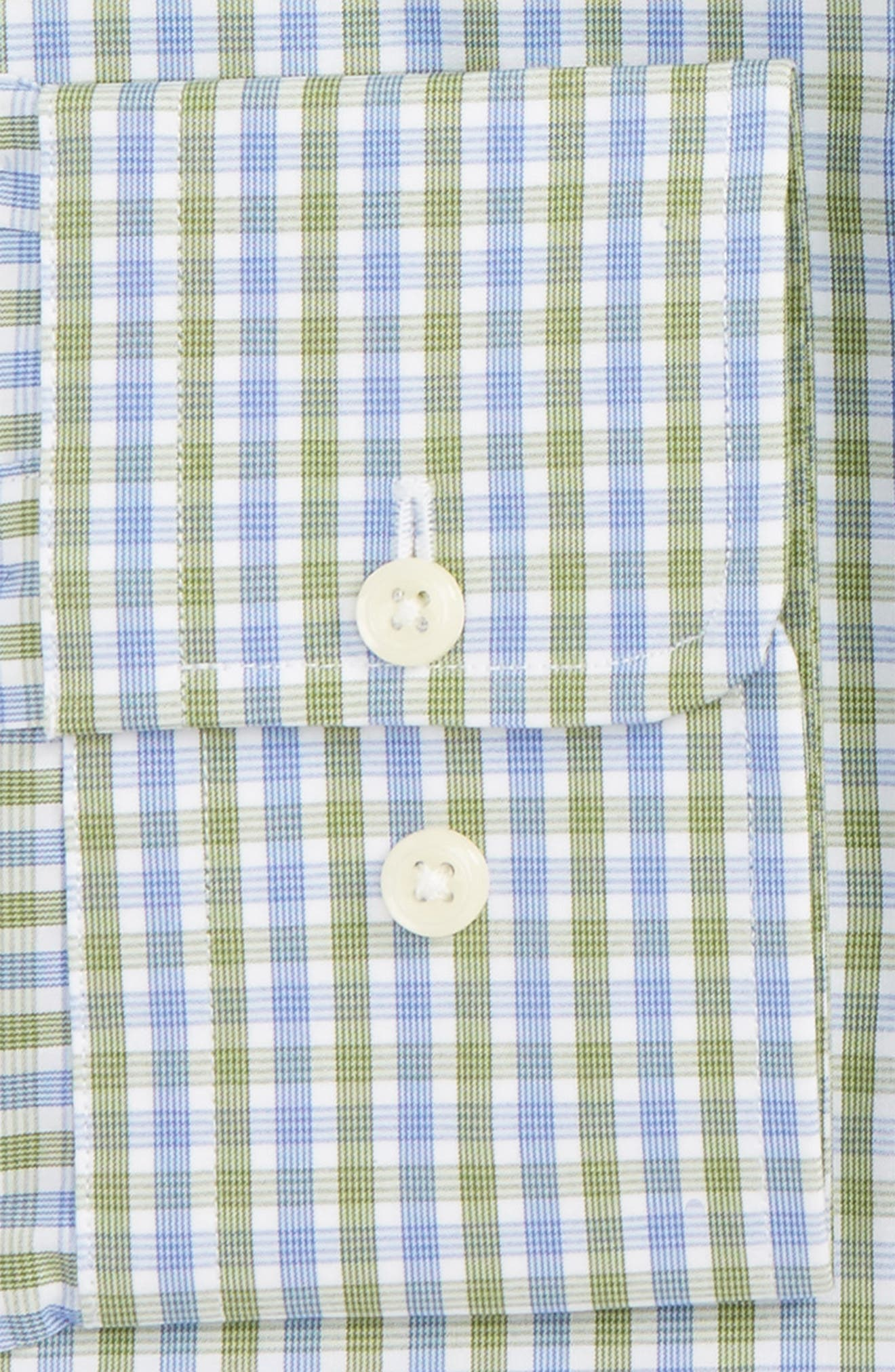 Trim Fit Check Dress Shirt,                             Alternate thumbnail 2, color,                             Blue/ Green
