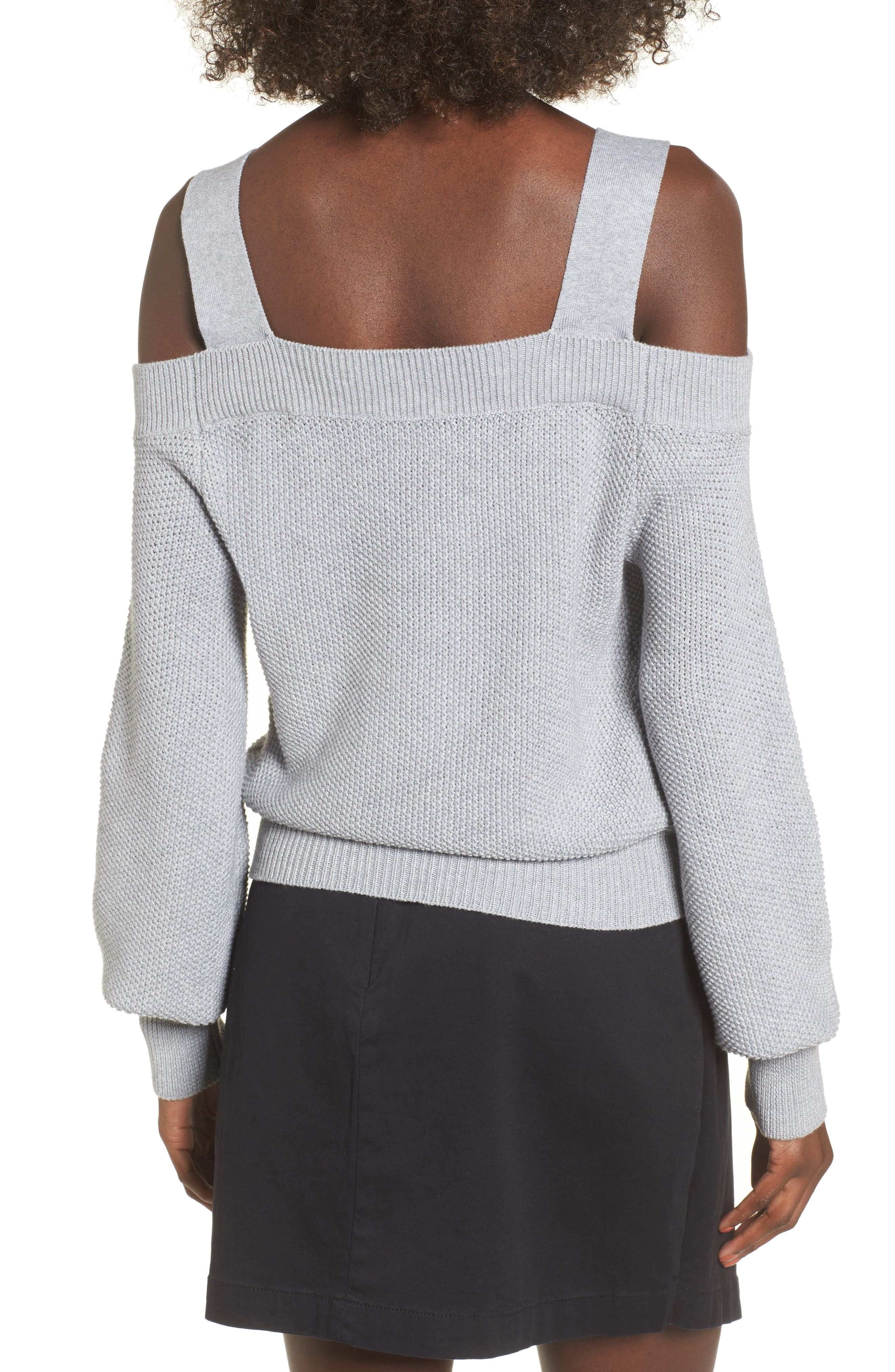 Lexi Cold Shoulder Sweater,                             Alternate thumbnail 3, color,                             Grey Marle