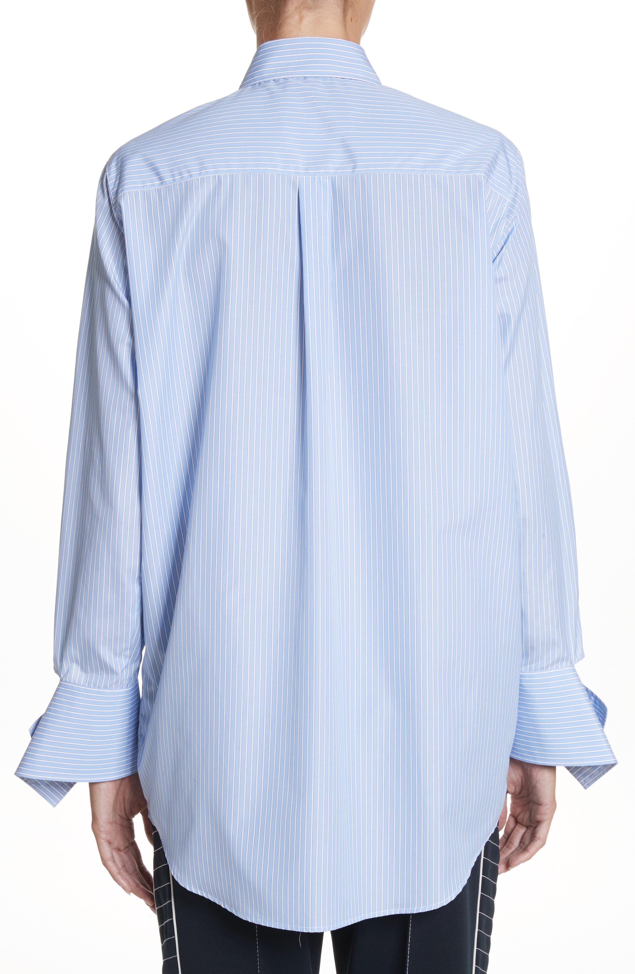 Cutaway Sleeve Cotton Poplin Shirt,                             Alternate thumbnail 2, color,                             Blue / White