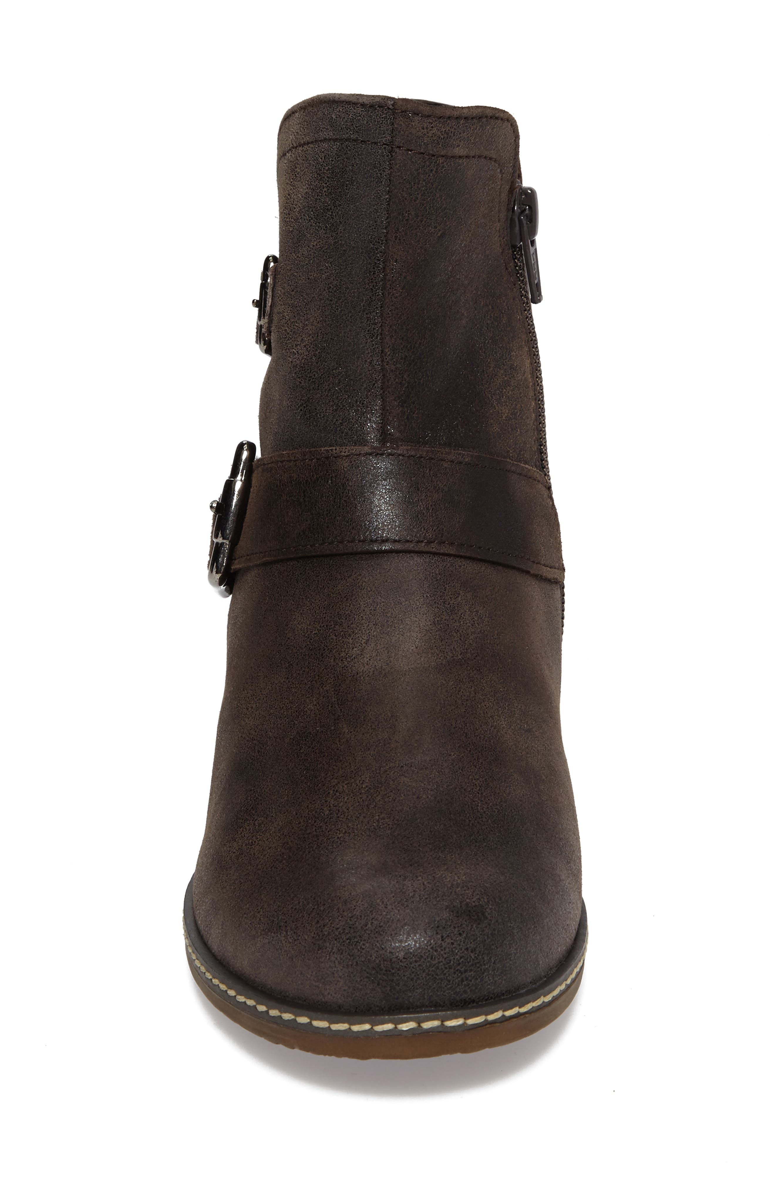 Buckle Bootie,                             Alternate thumbnail 4, color,                             Brown Leather