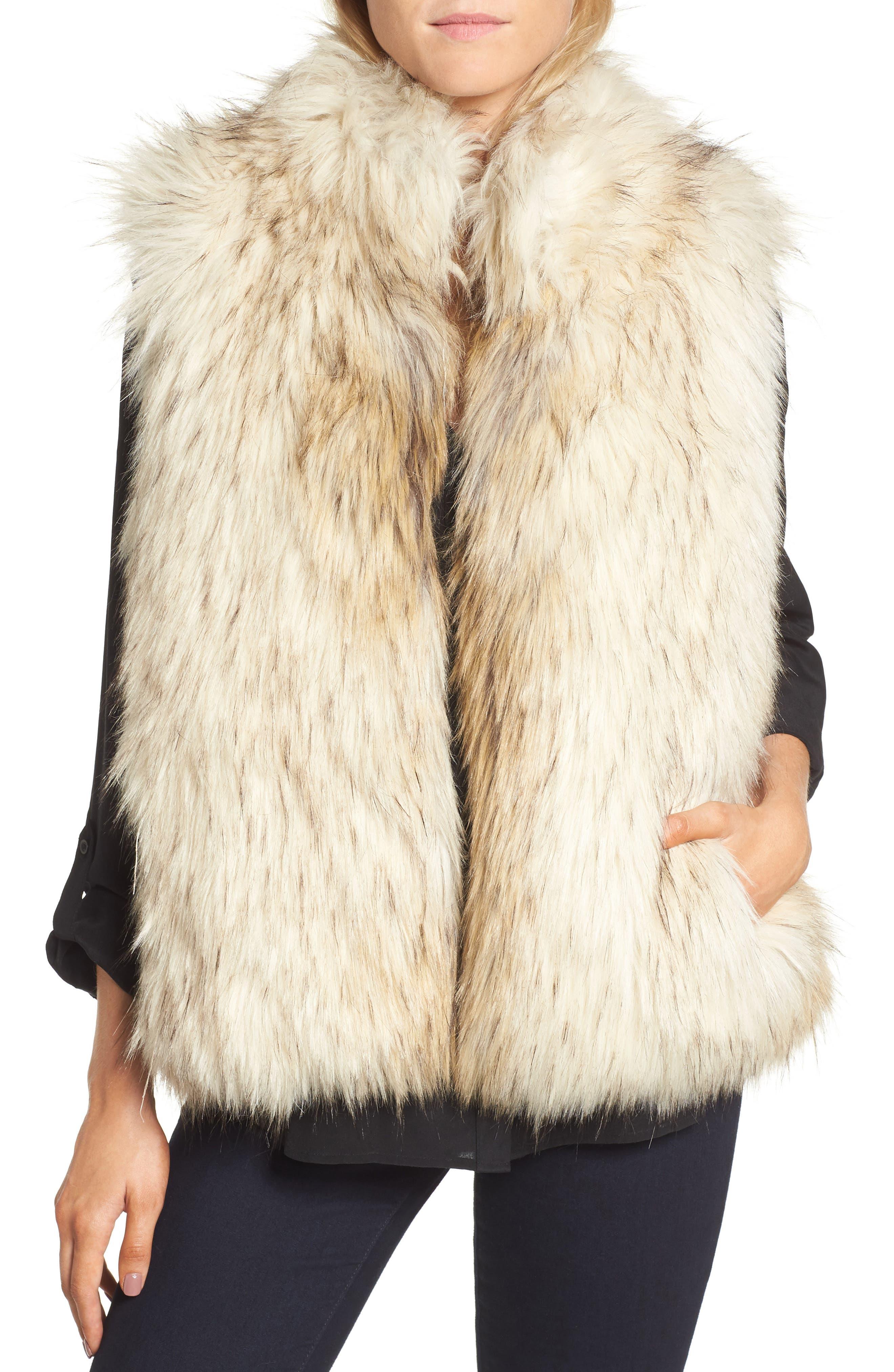 Elvan Open Front Faux Fur Vest,                         Main,                         color, Ivory