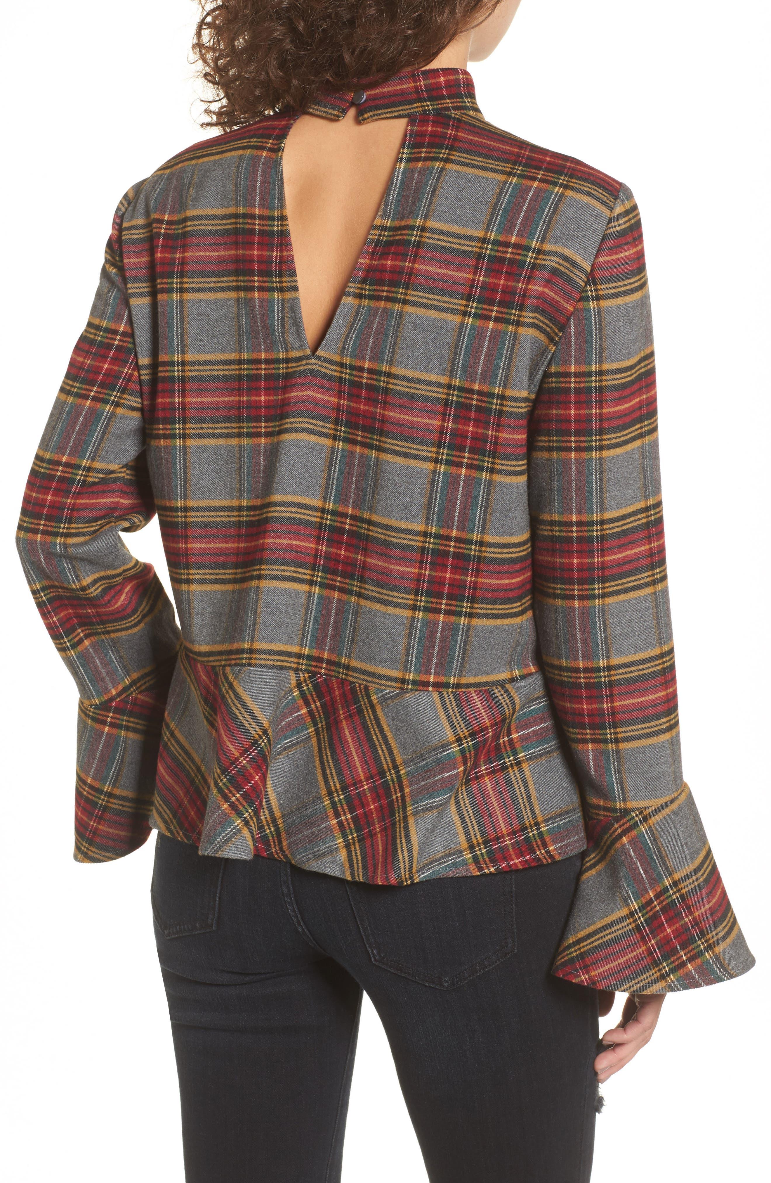 Plaid Ruffle Hem Shirt,                             Alternate thumbnail 2, color,                             Grey Medium Heather Tartan