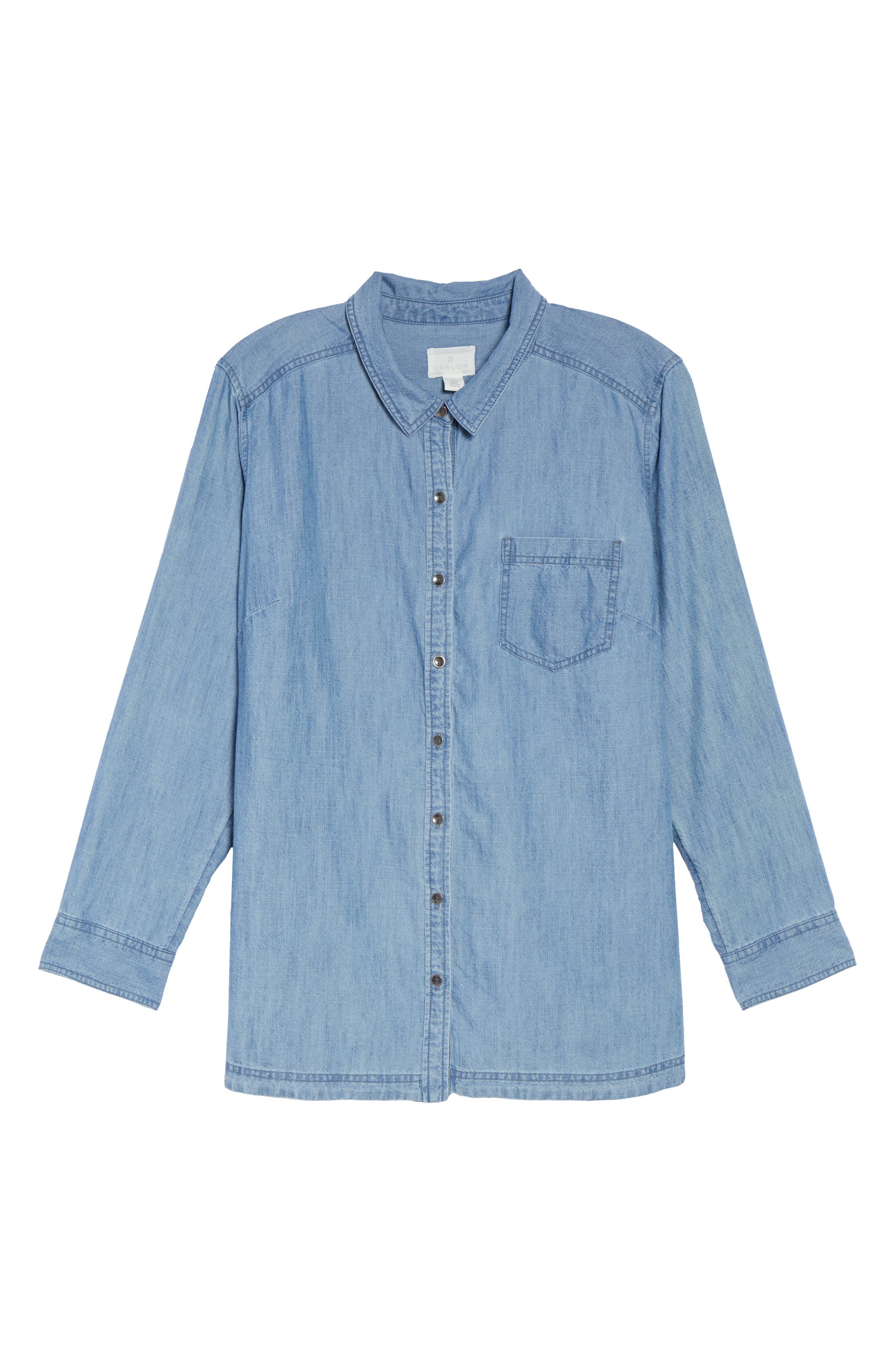 Button Front Chambray Shirt,                             Alternate thumbnail 6, color,                             Chambray