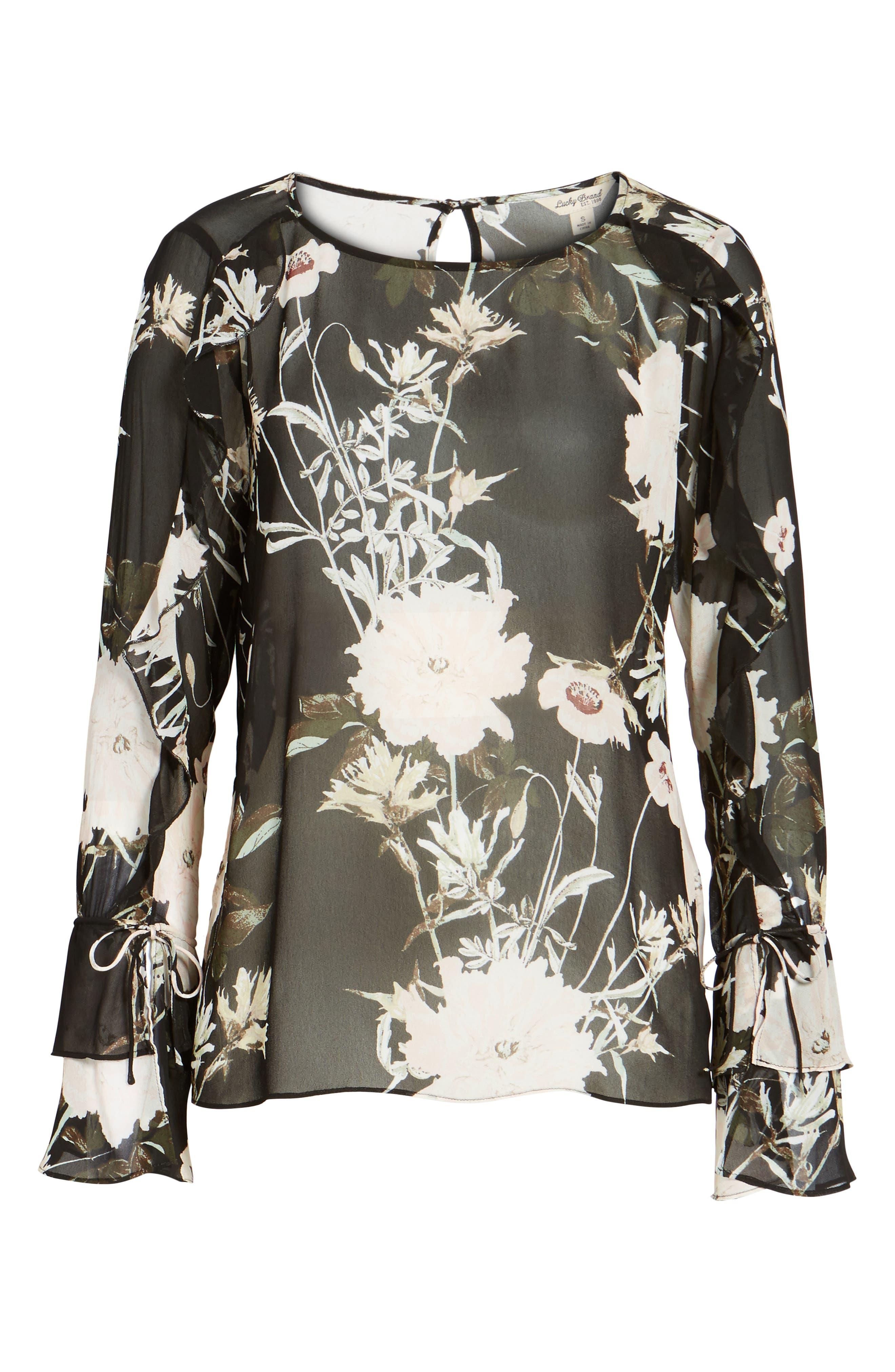Floral Print Bell Sleeve Top,                             Alternate thumbnail 6, color,                             Black Multi
