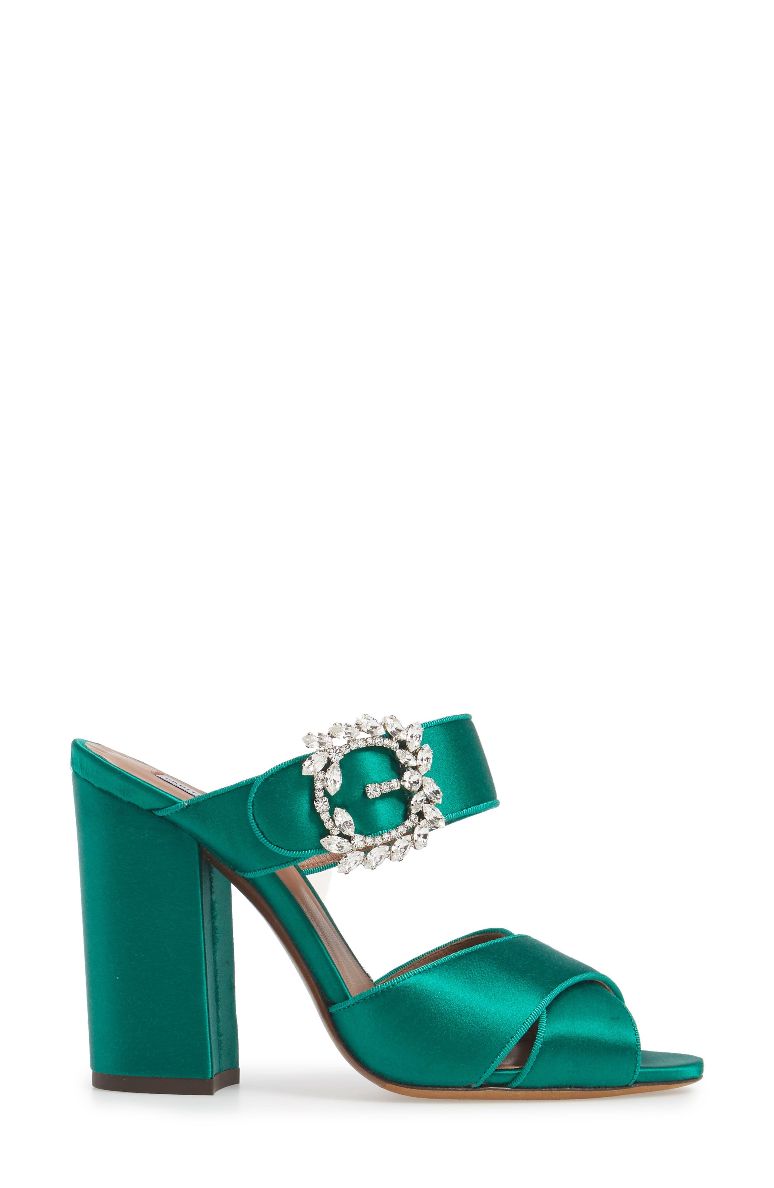 Reyner Crystal Buckle Sandal,                             Alternate thumbnail 3, color,                             Emerald Green