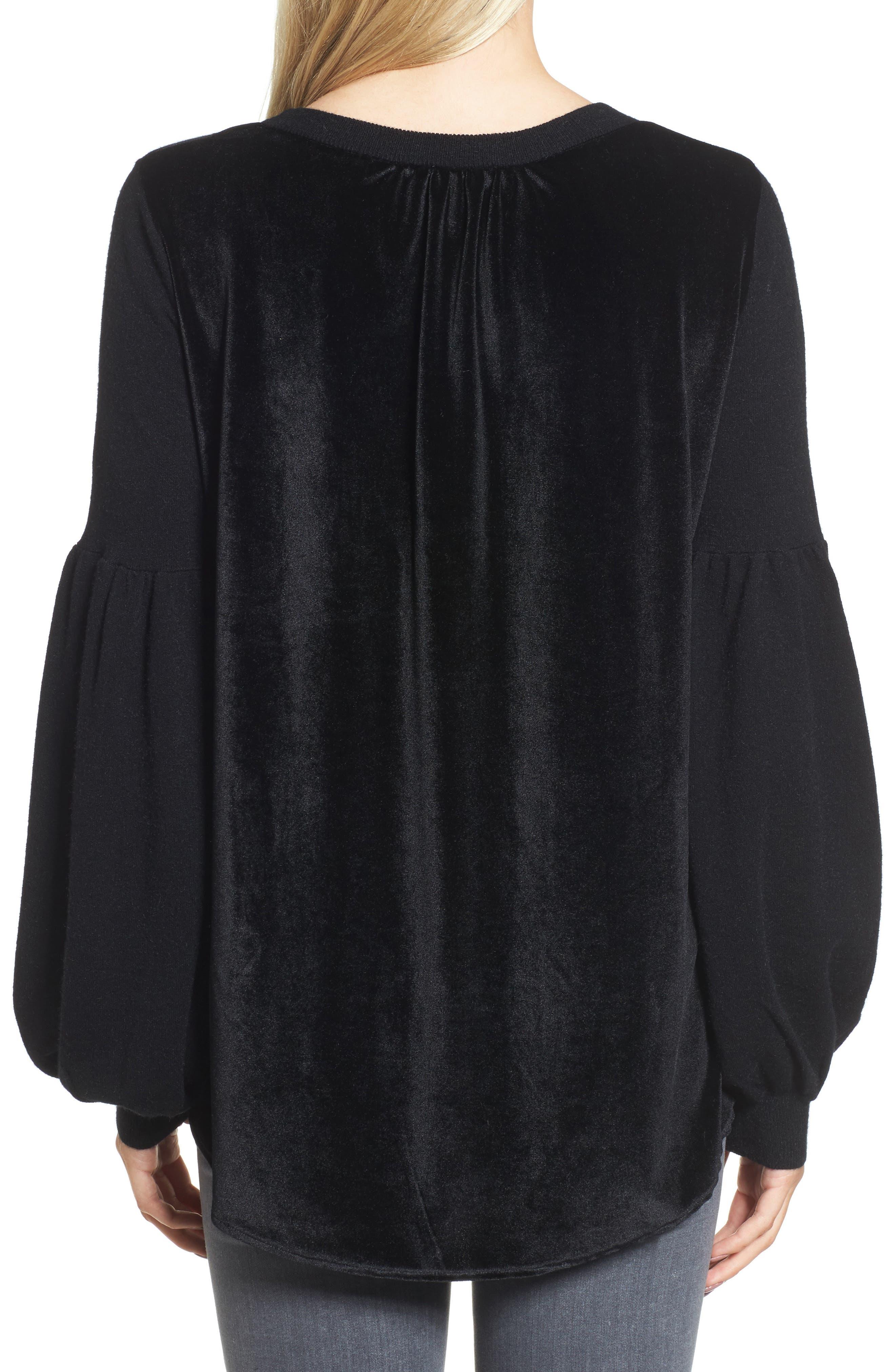 Velvet Back Sweater,                             Alternate thumbnail 2, color,                             Black