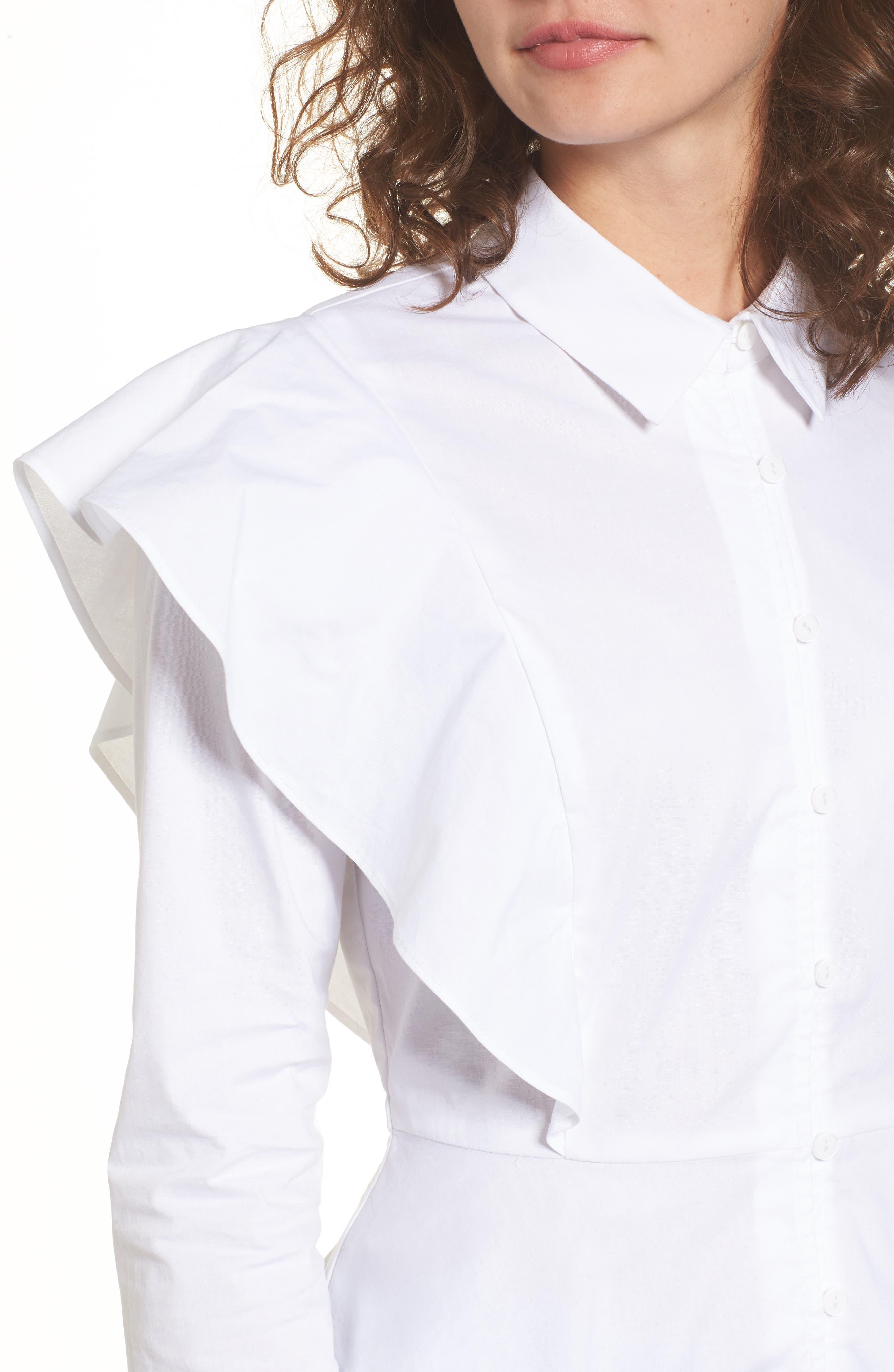 Ruffle Shoulder Peplum Top,                             Alternate thumbnail 3, color,                             White