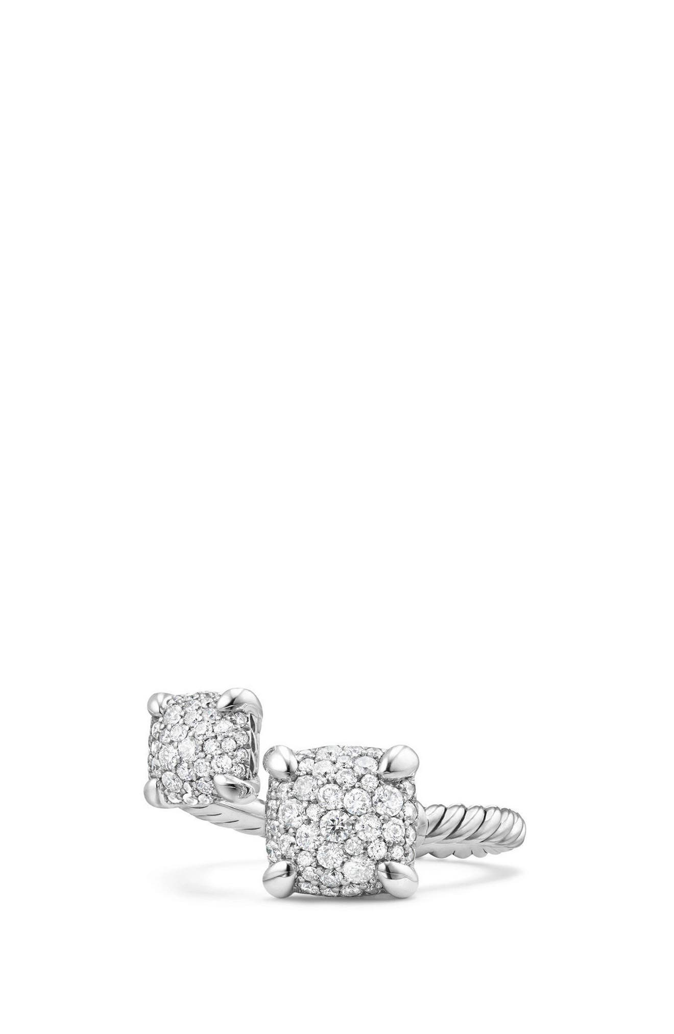 Châtelaine Bypass Ring with Diamonds,                         Main,                         color, Silver