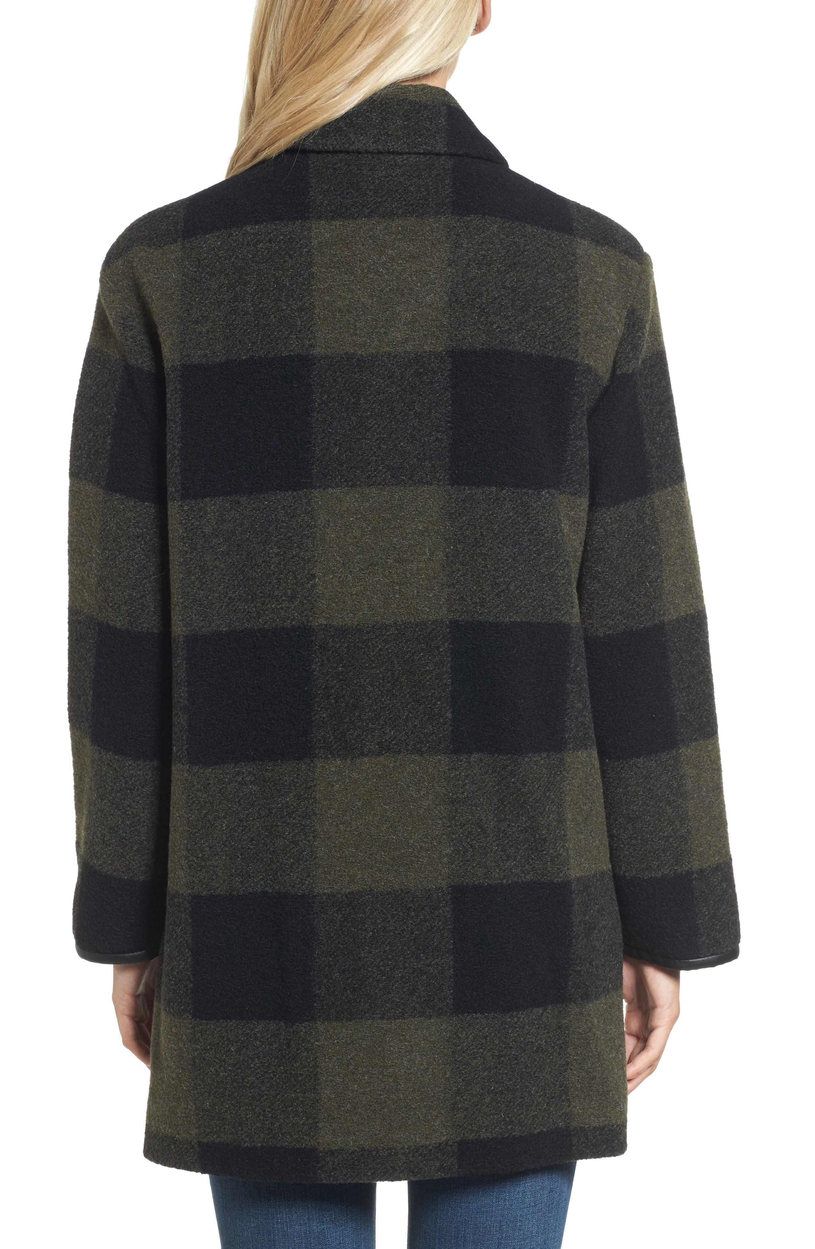 Paul Bunyan Plaid Wool Blend Barn Coat,                             Alternate thumbnail 2, color,                             Olive/ Black Plaid