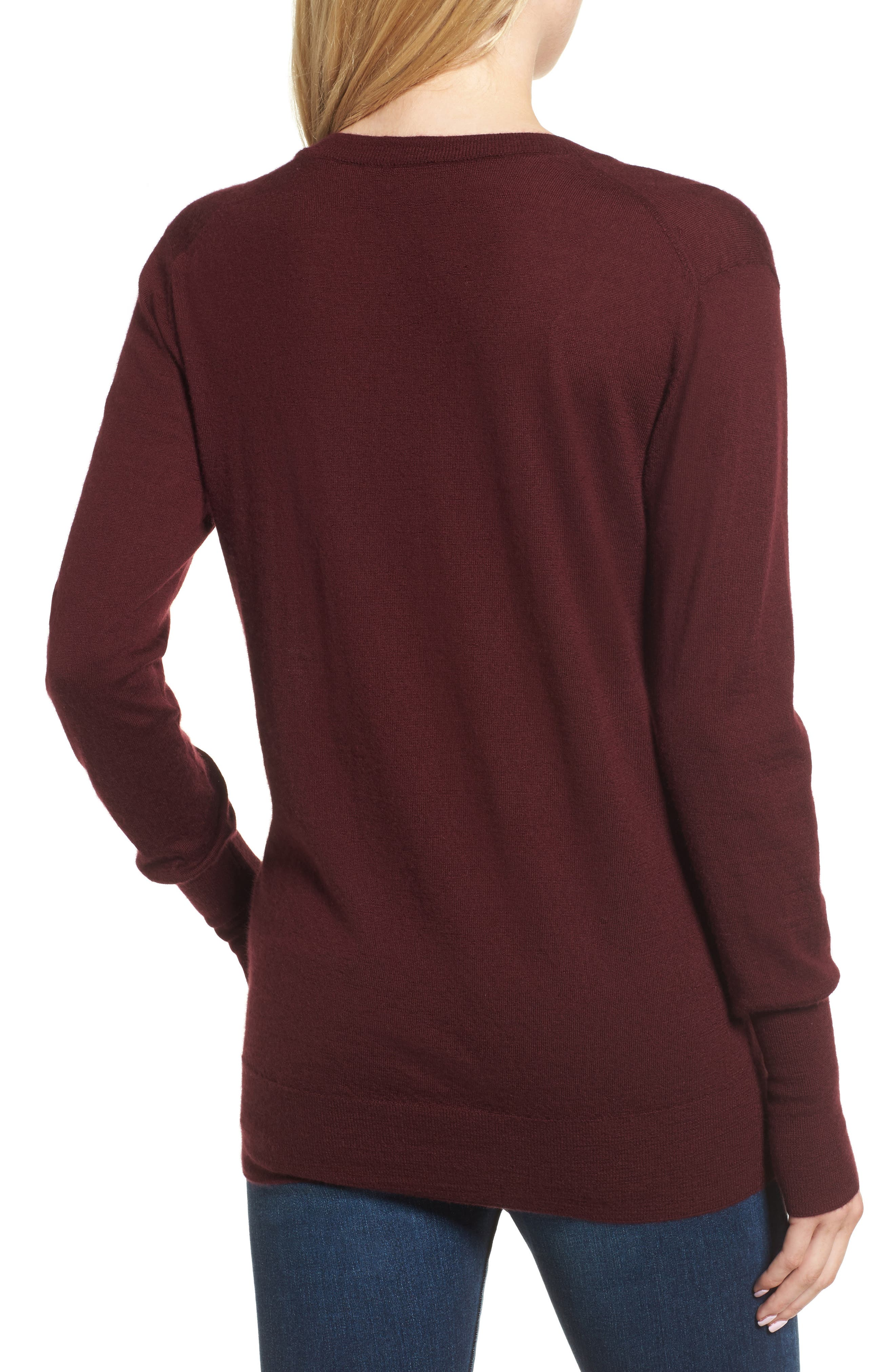Uma V-Neck Cashmere Sweater,                             Alternate thumbnail 2, color,                             Deep Currant