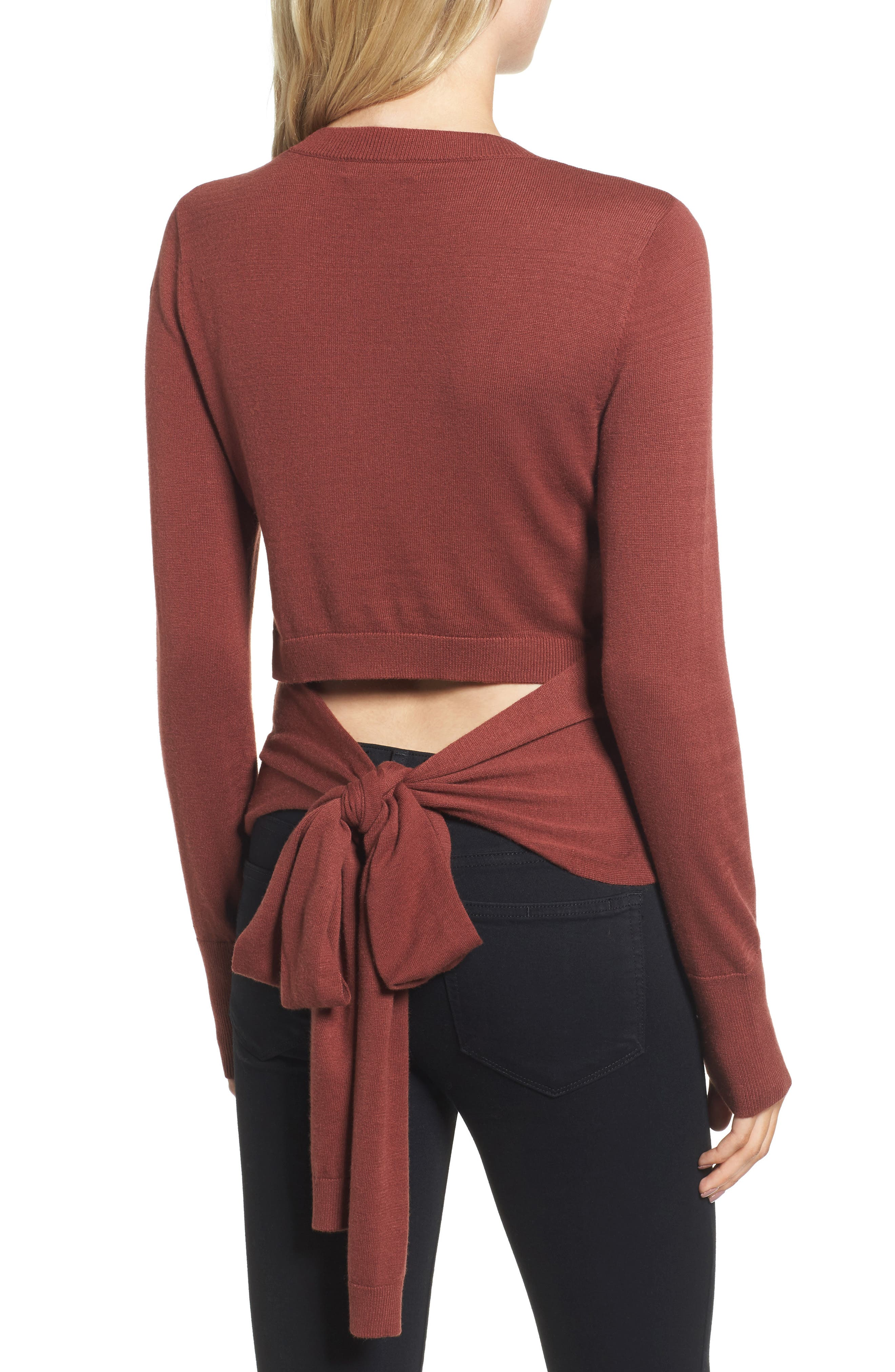 Tie Back Sweater,                             Alternate thumbnail 2, color,                             Rust Madder