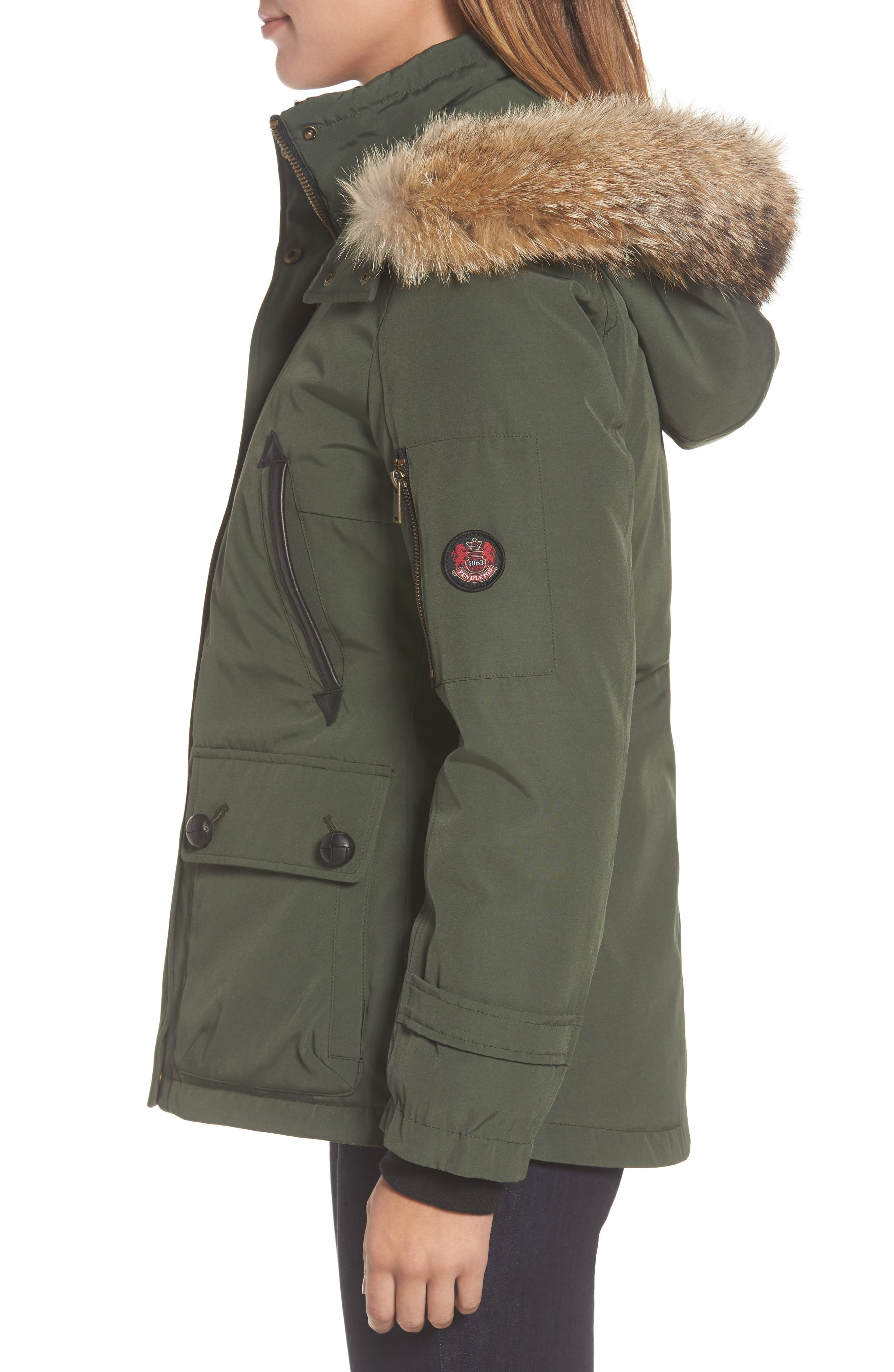 Bachelor Water Repellent Hooded Down Parka with Genuine Coyote Fur Trim,                             Alternate thumbnail 3, color,                             Olive