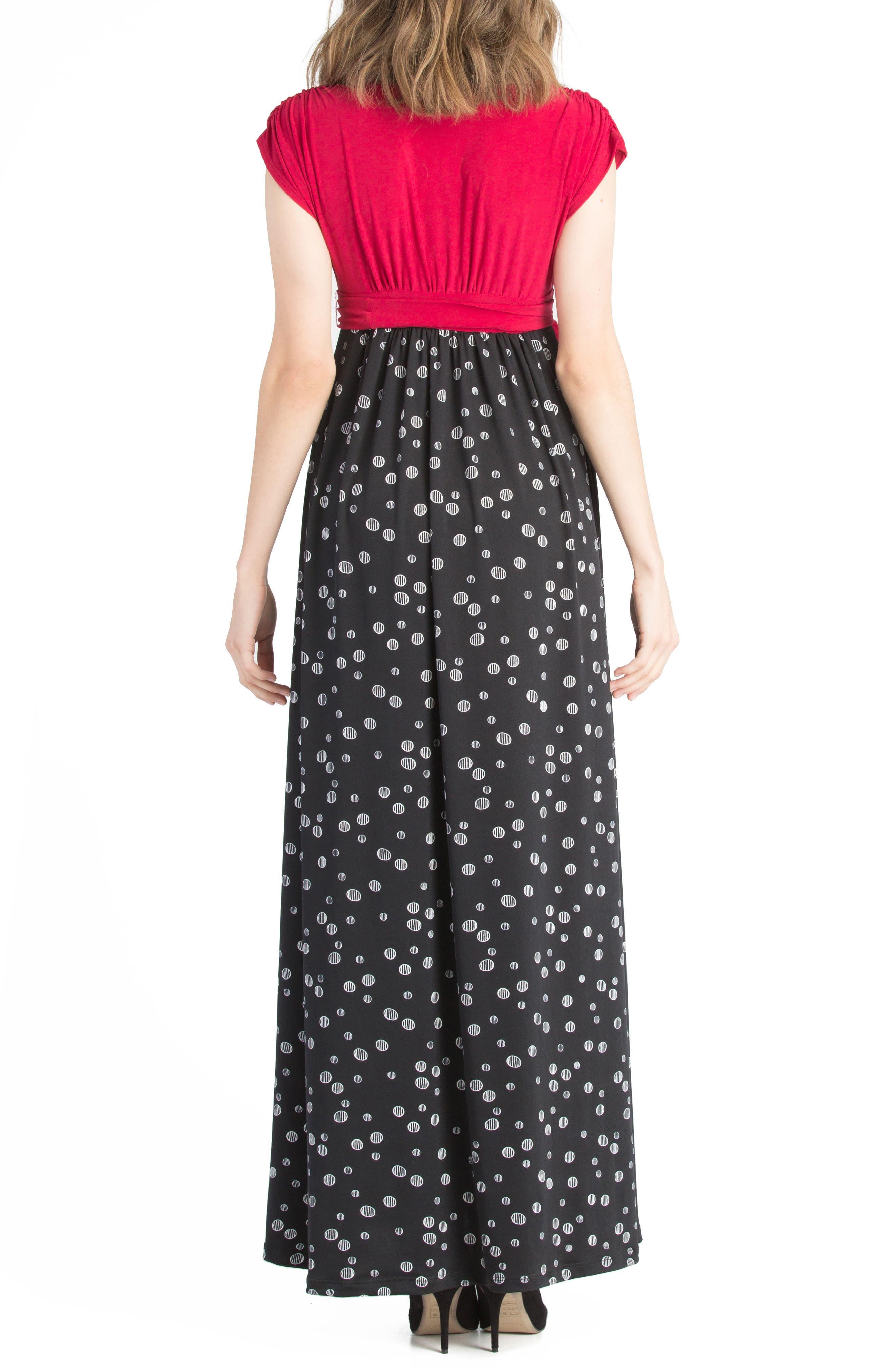 Colorblock Nursing Maxi Dress,                             Alternate thumbnail 2, color,                             Black/ Fuschia