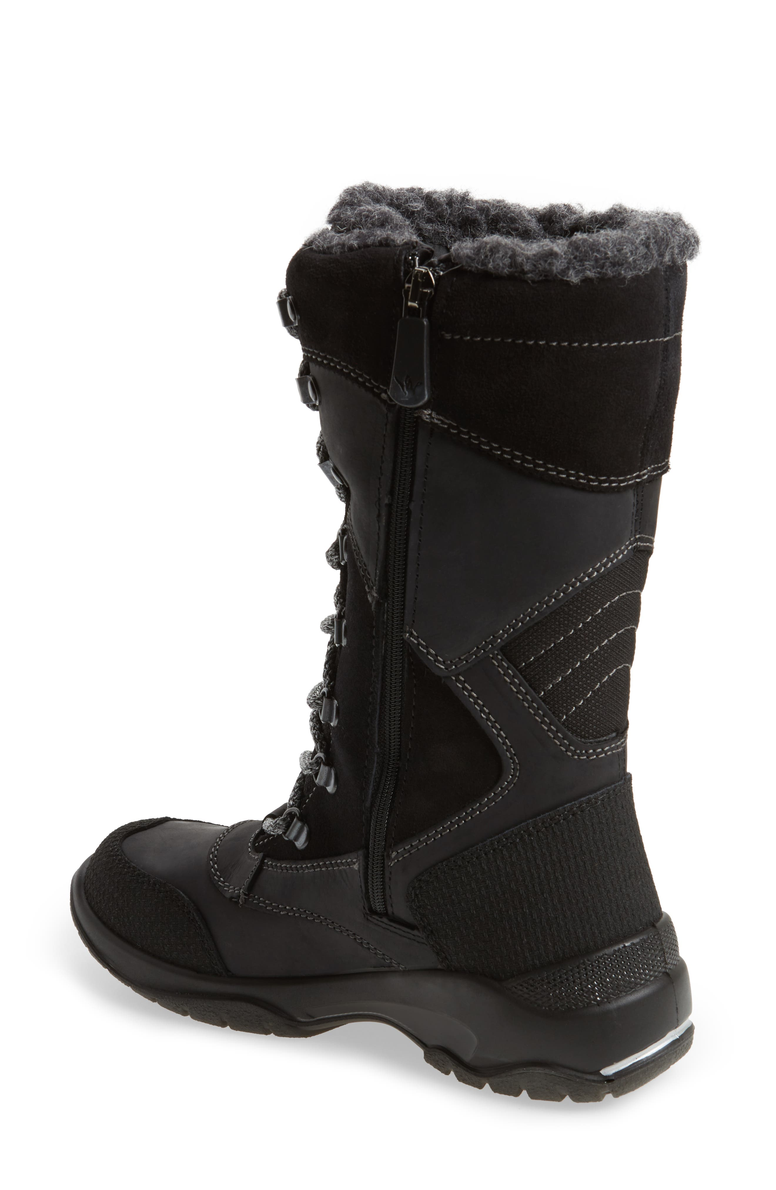 Topspeed Faux Fur Lined Waterproof Boot,                             Alternate thumbnail 2, color,                             Black Leather