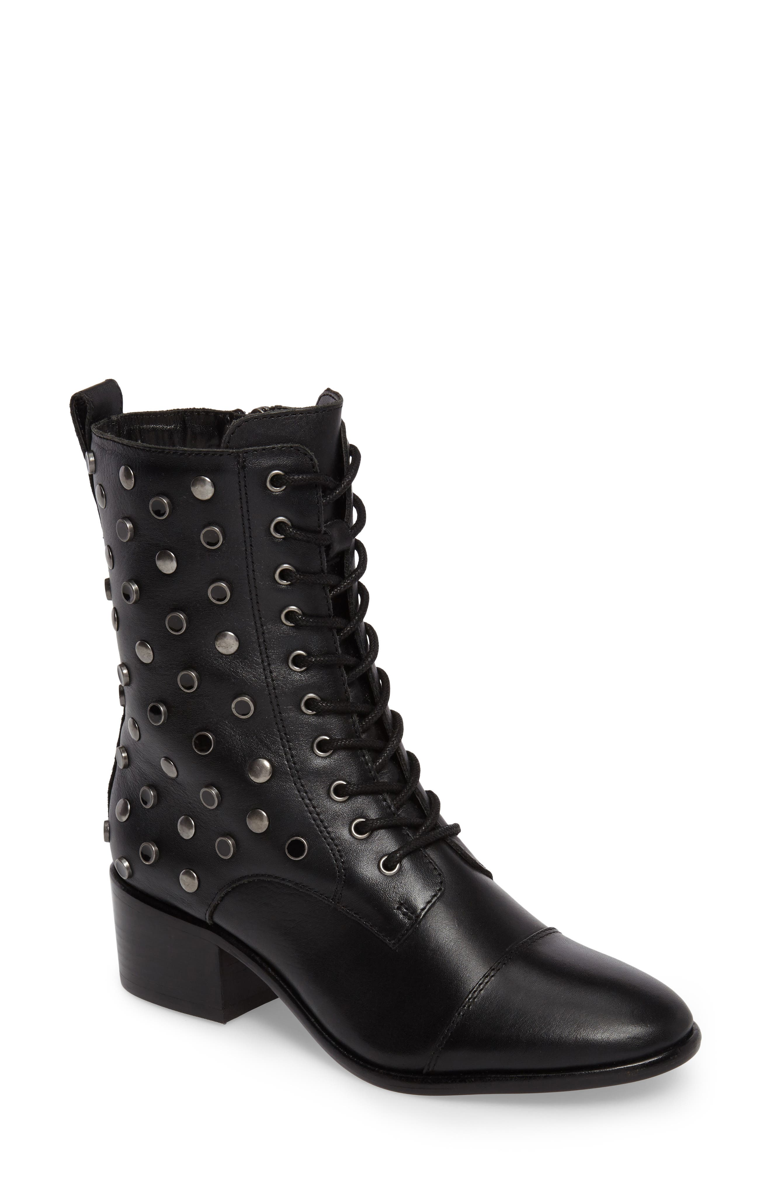 M4D3 Grazie Embellished Water Resistant Boot,                             Main thumbnail 1, color,                             Black Leather