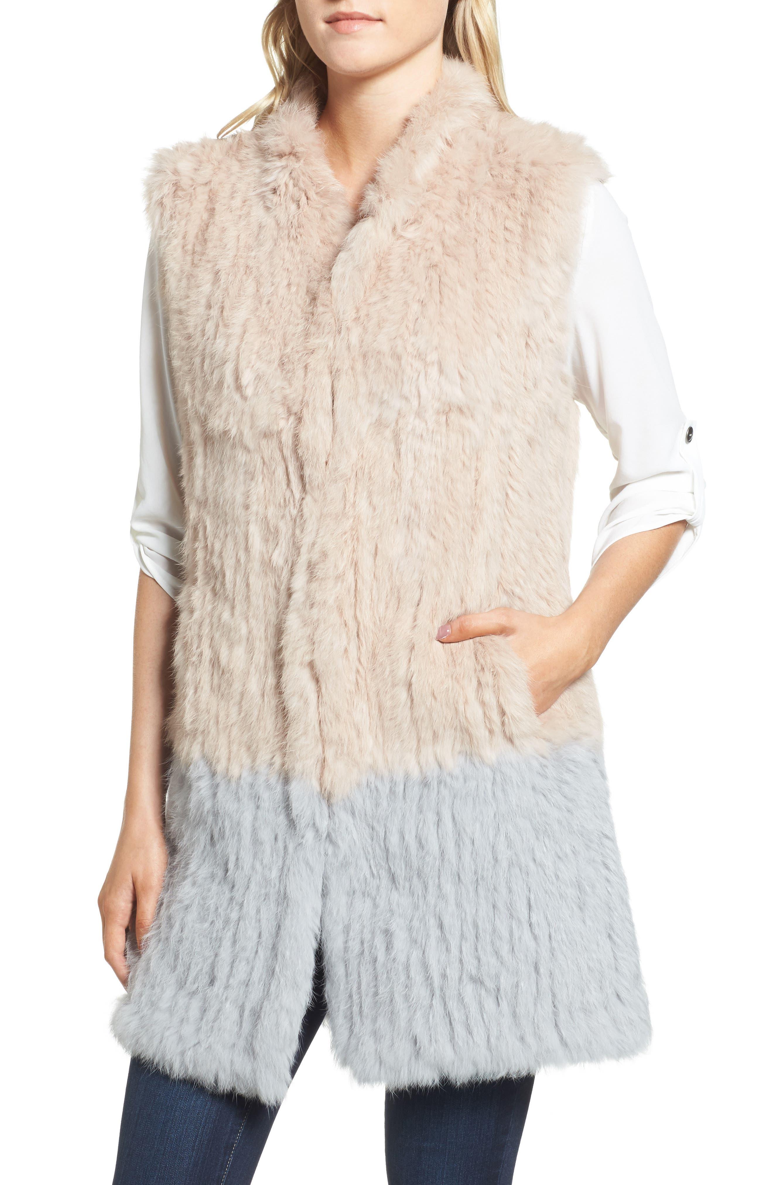 Clean Colorblock Genuine Rabbit Fur Vest,                             Alternate thumbnail 4, color,                             Blush/ Grey