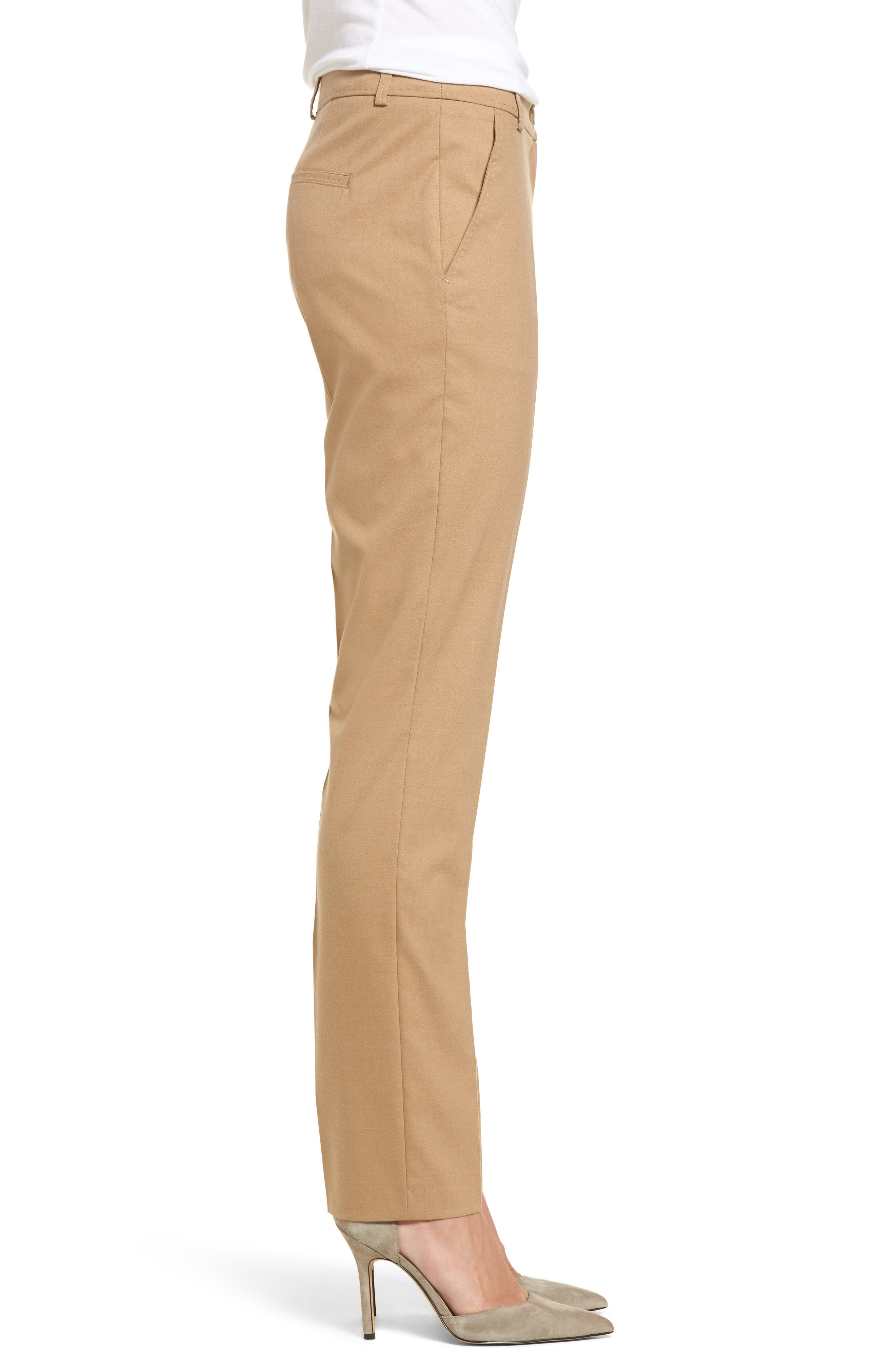 Straight Leg Trousers,                             Alternate thumbnail 3, color,                             Camel