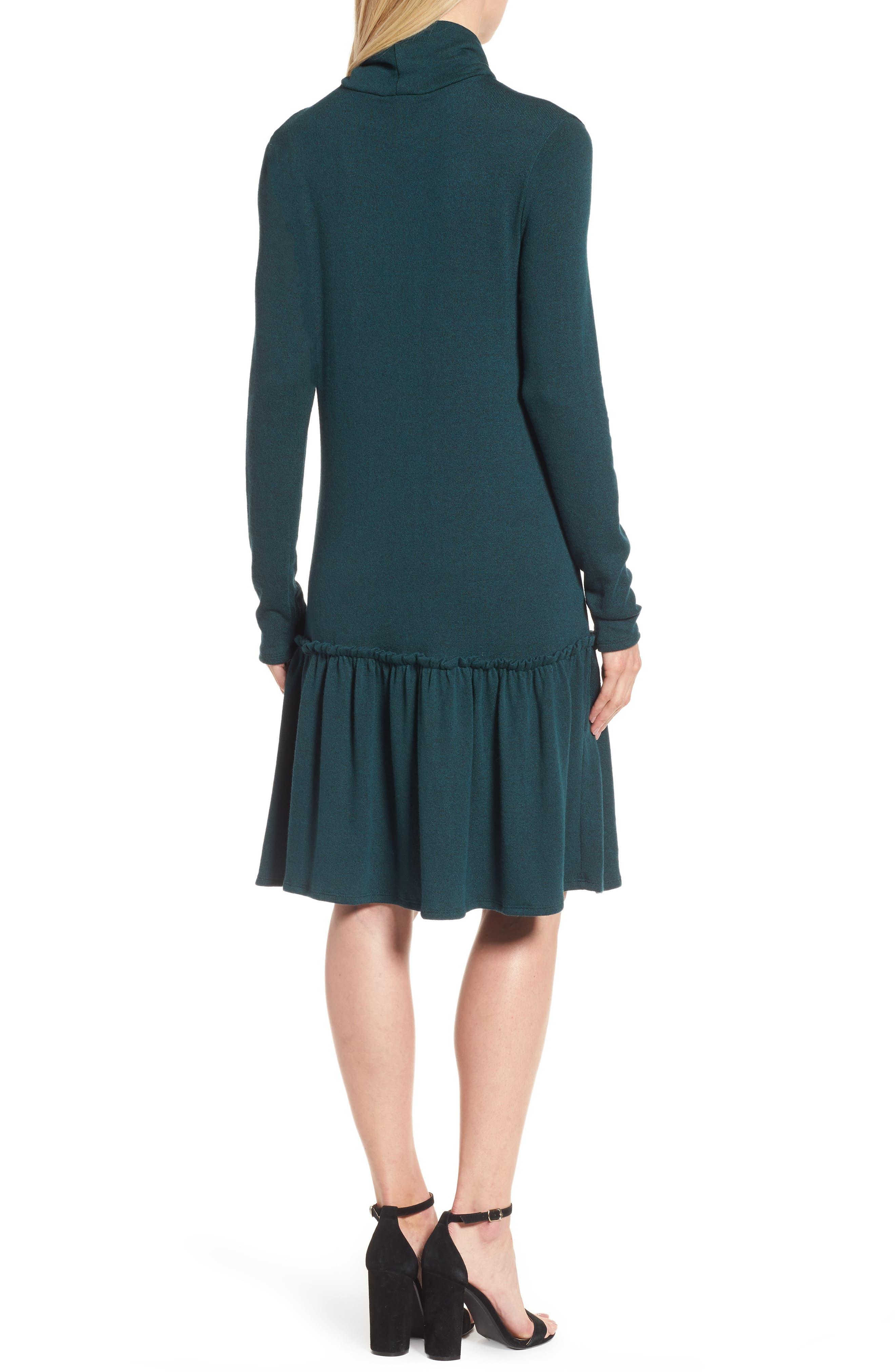 Alternate Image 2  - Halogen® Ruffle Hem Turtleneck Dress