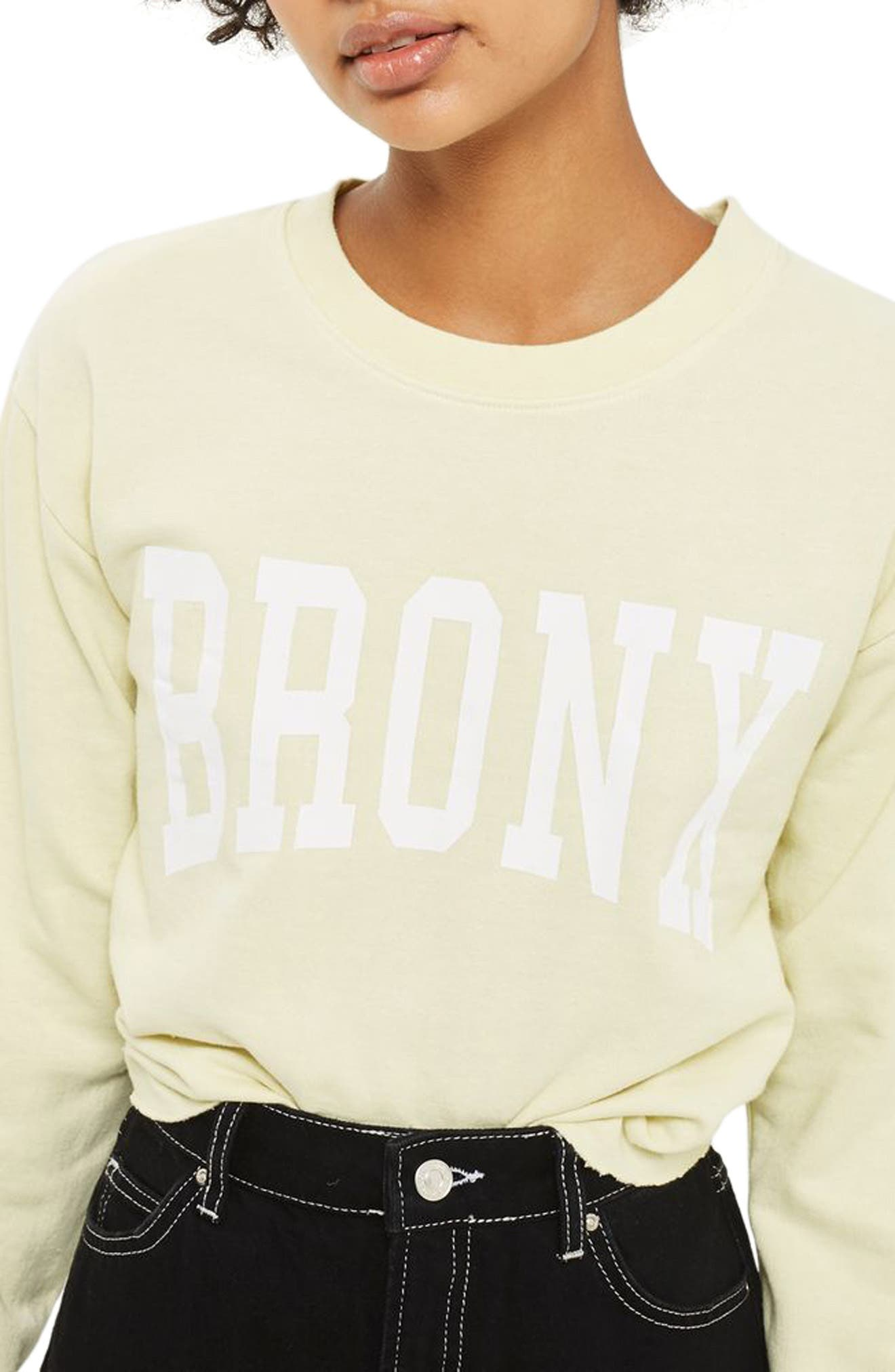 Bronx Cropped Sweatshirt,                             Alternate thumbnail 2, color,                             Yellow