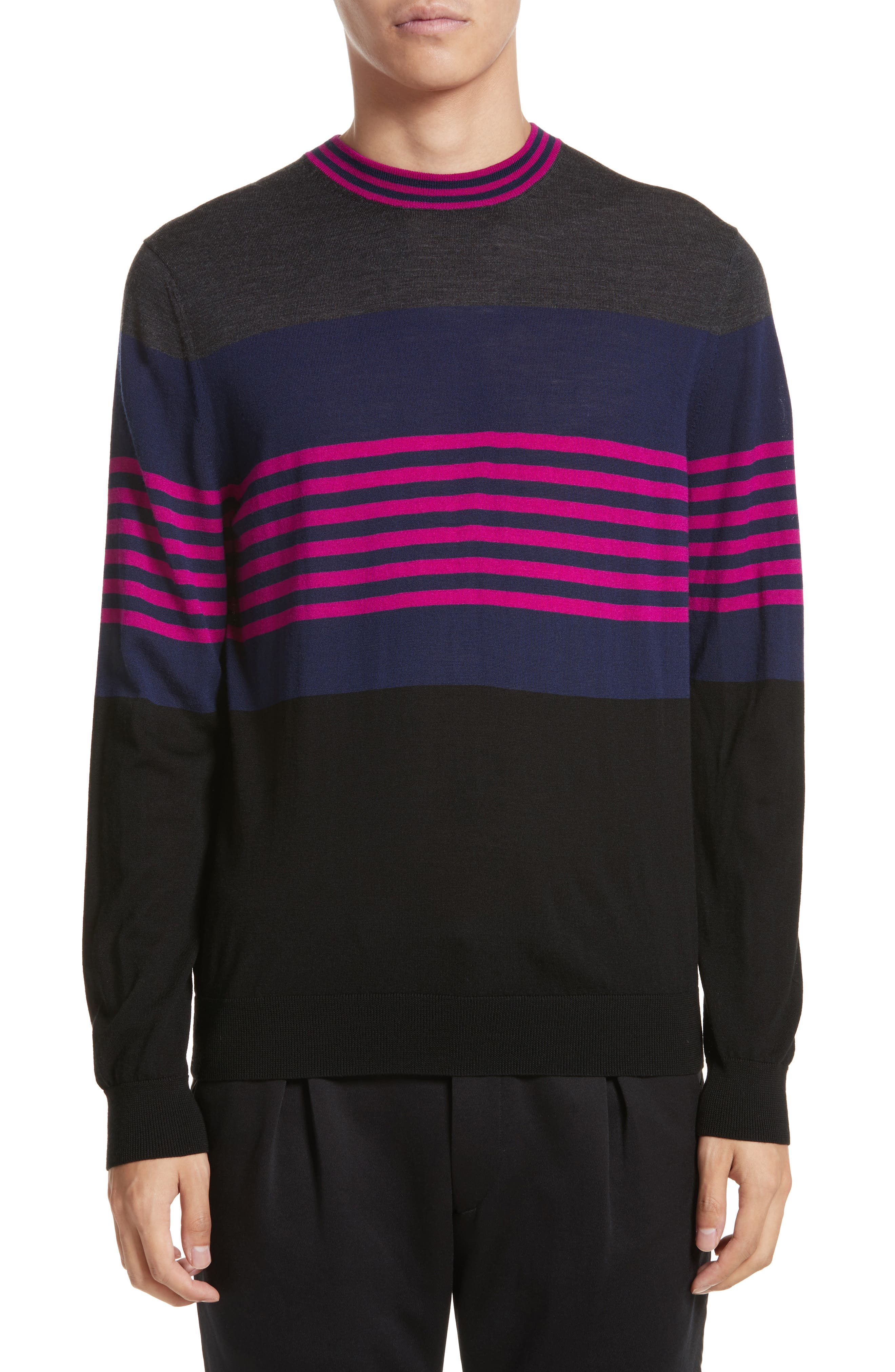 Stripe Merino Wool Crewneck Sweater,                             Main thumbnail 1, color,                             Grey Multi