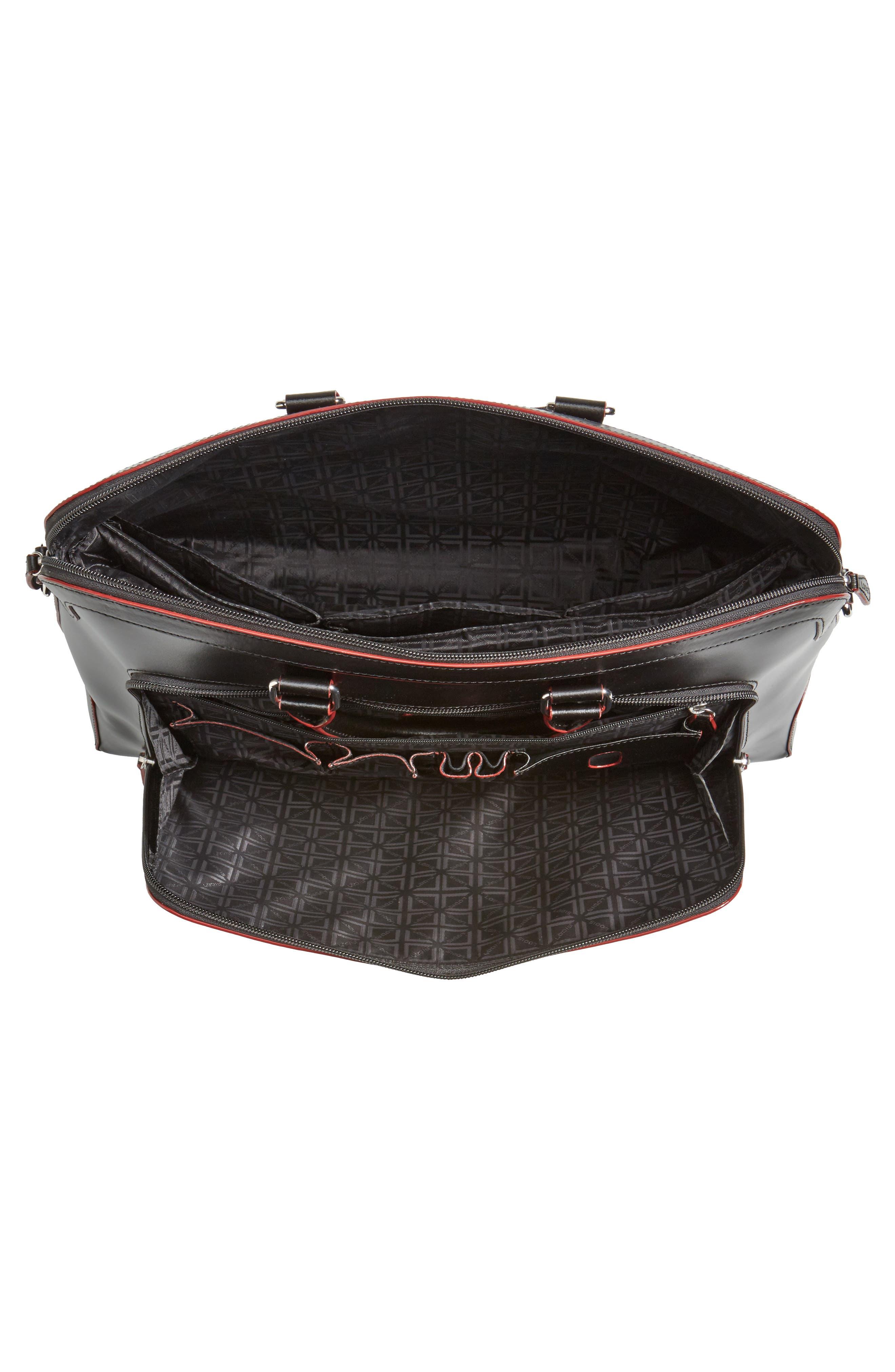 Audrey Under Lock & Key - Brera RFID Leather Briefcase,                             Alternate thumbnail 3, color,                             Black