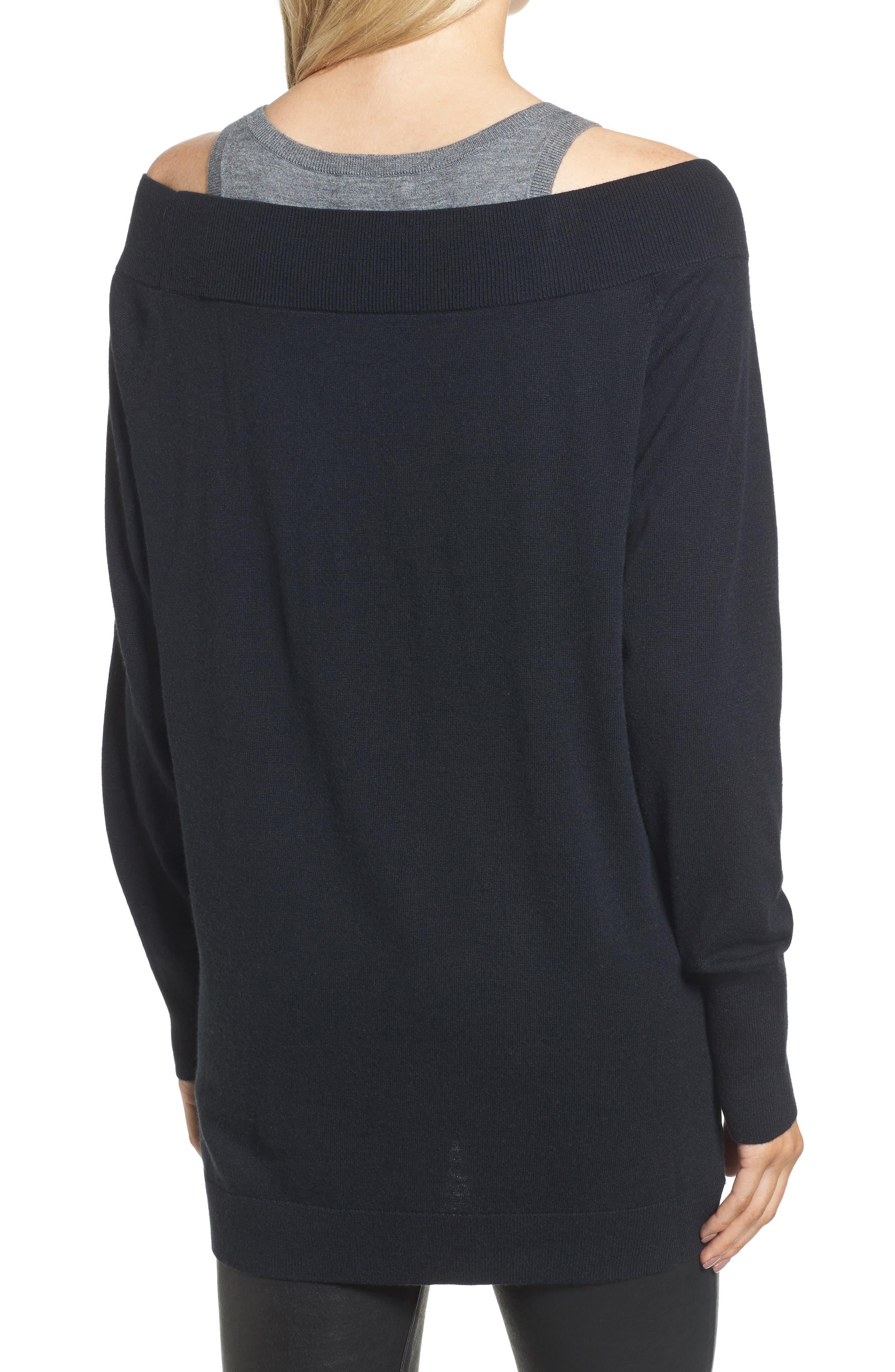 Spliced Tank Sweater,                             Alternate thumbnail 2, color,                             Black Combo