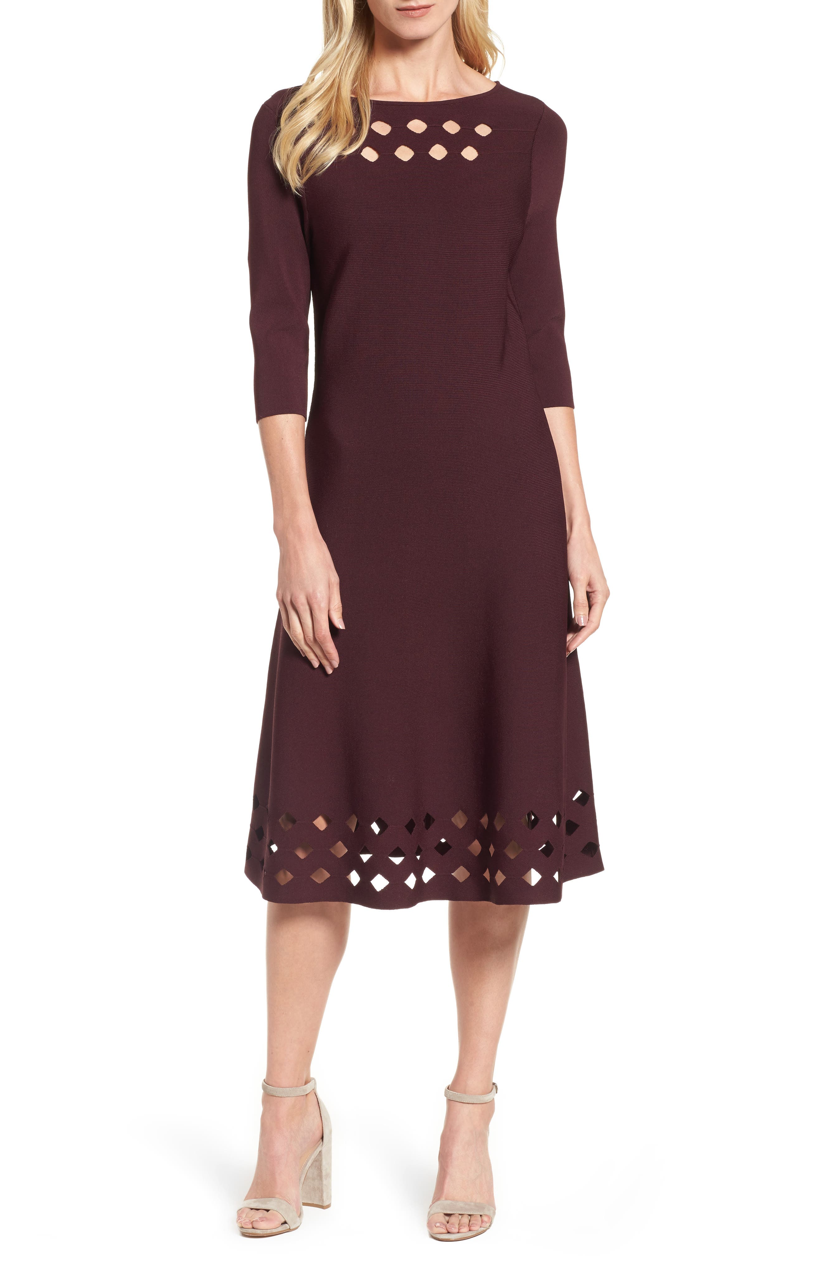 Time Out Twirl Midi Dress,                         Main,                         color, Wine