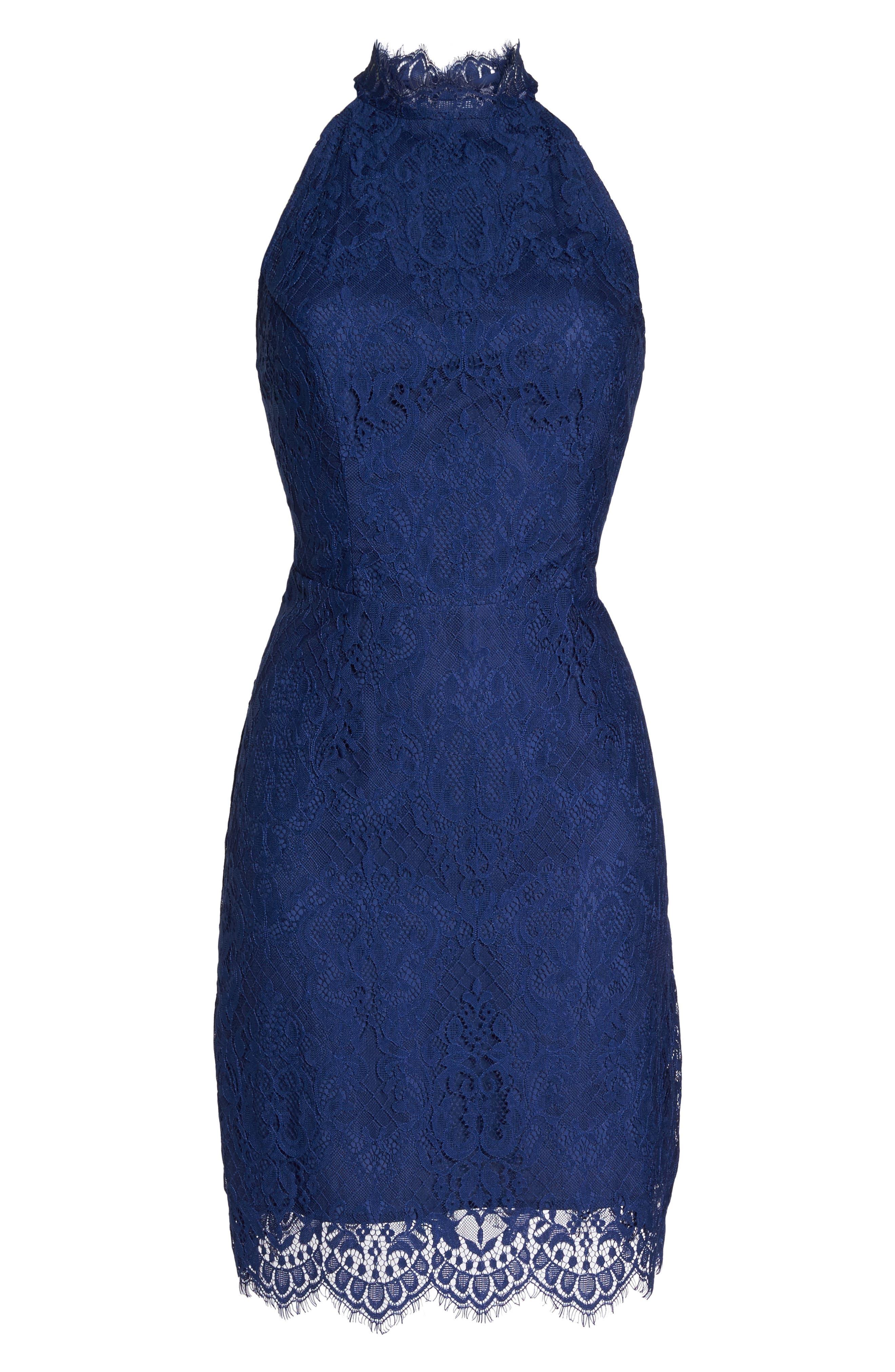 Cherie Lace Halter Sheath Dress,                             Alternate thumbnail 6, color,                             Blue