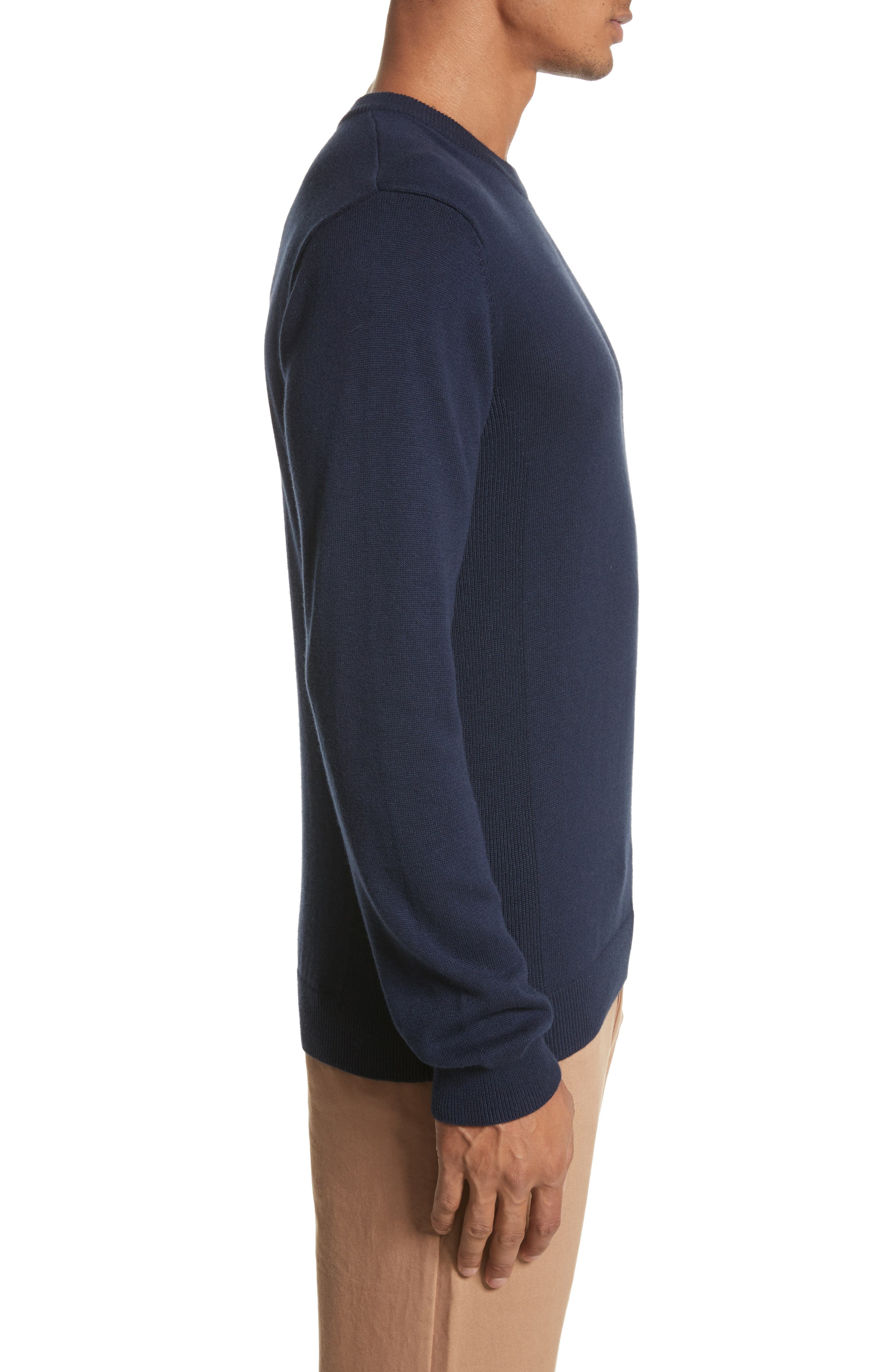 Everyday Classic Crewneck Sweater,                             Alternate thumbnail 3, color,                             Midnight
