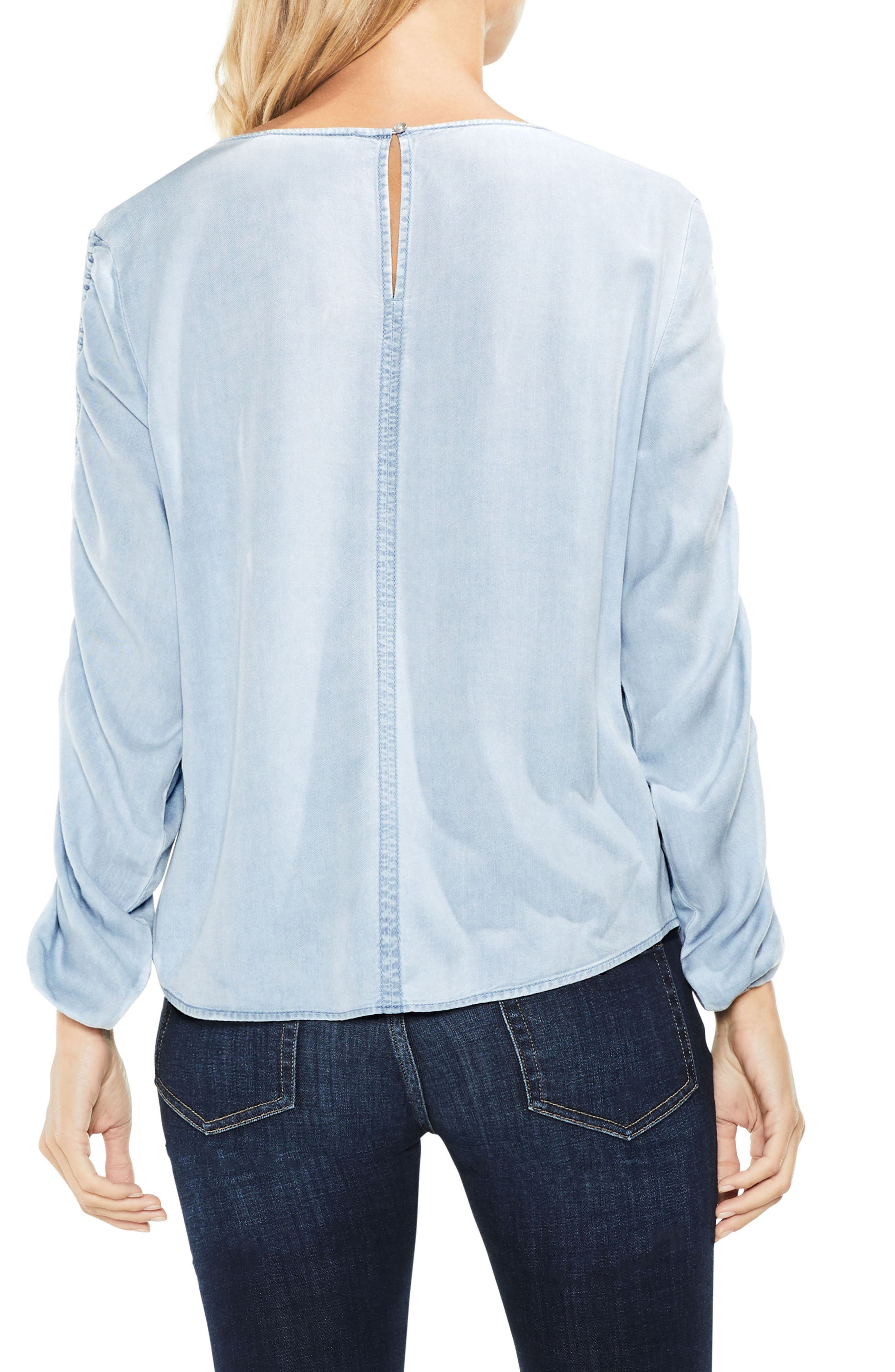 Alternate Image 3  - Two by Vince Camuto Ruched Sleeve Pastel Fade Top