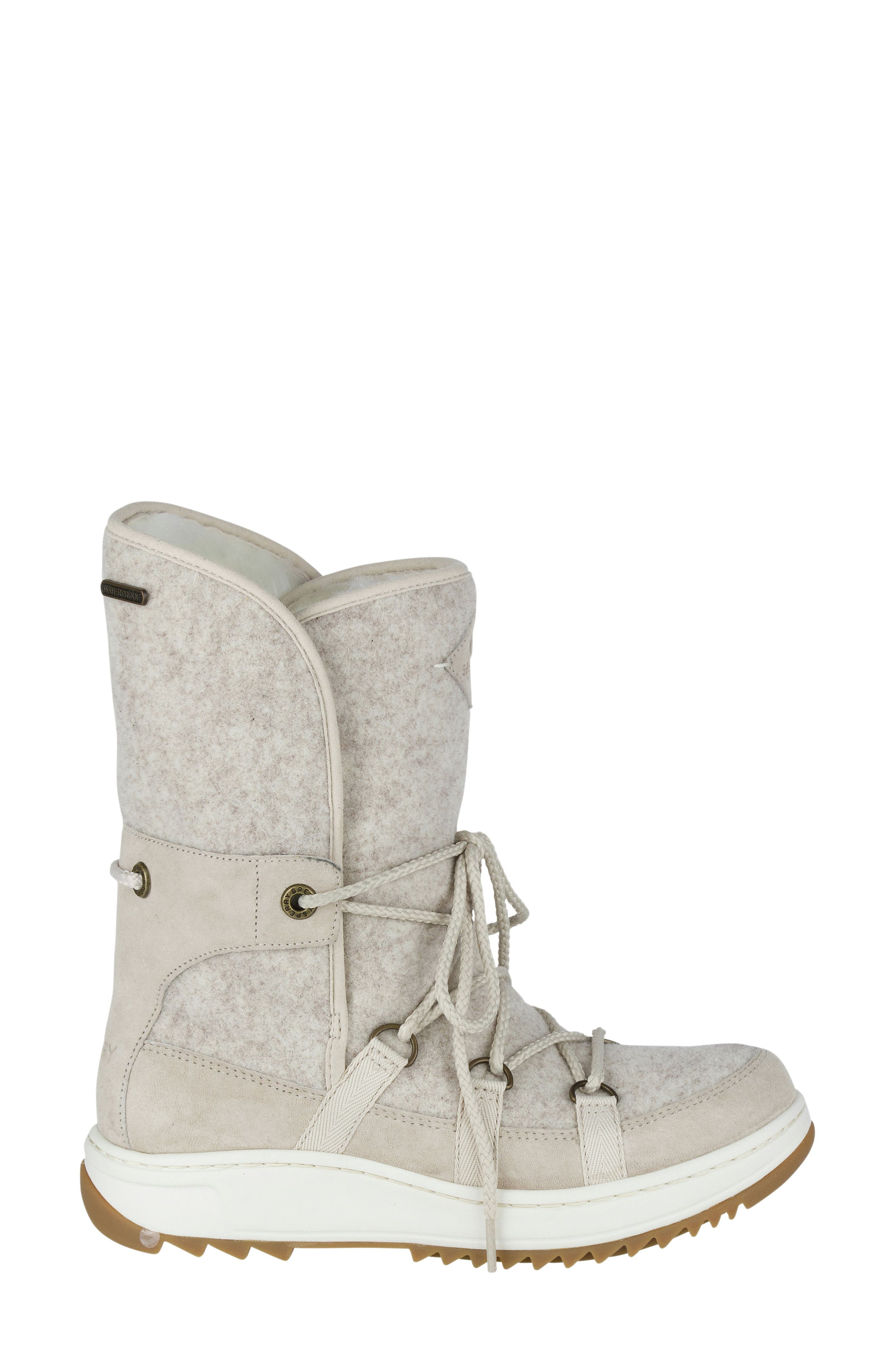 Powder Ice Cap Thinsulate Insulated Water Resistant Boot,                             Alternate thumbnail 3, color,                             Ivory Suede